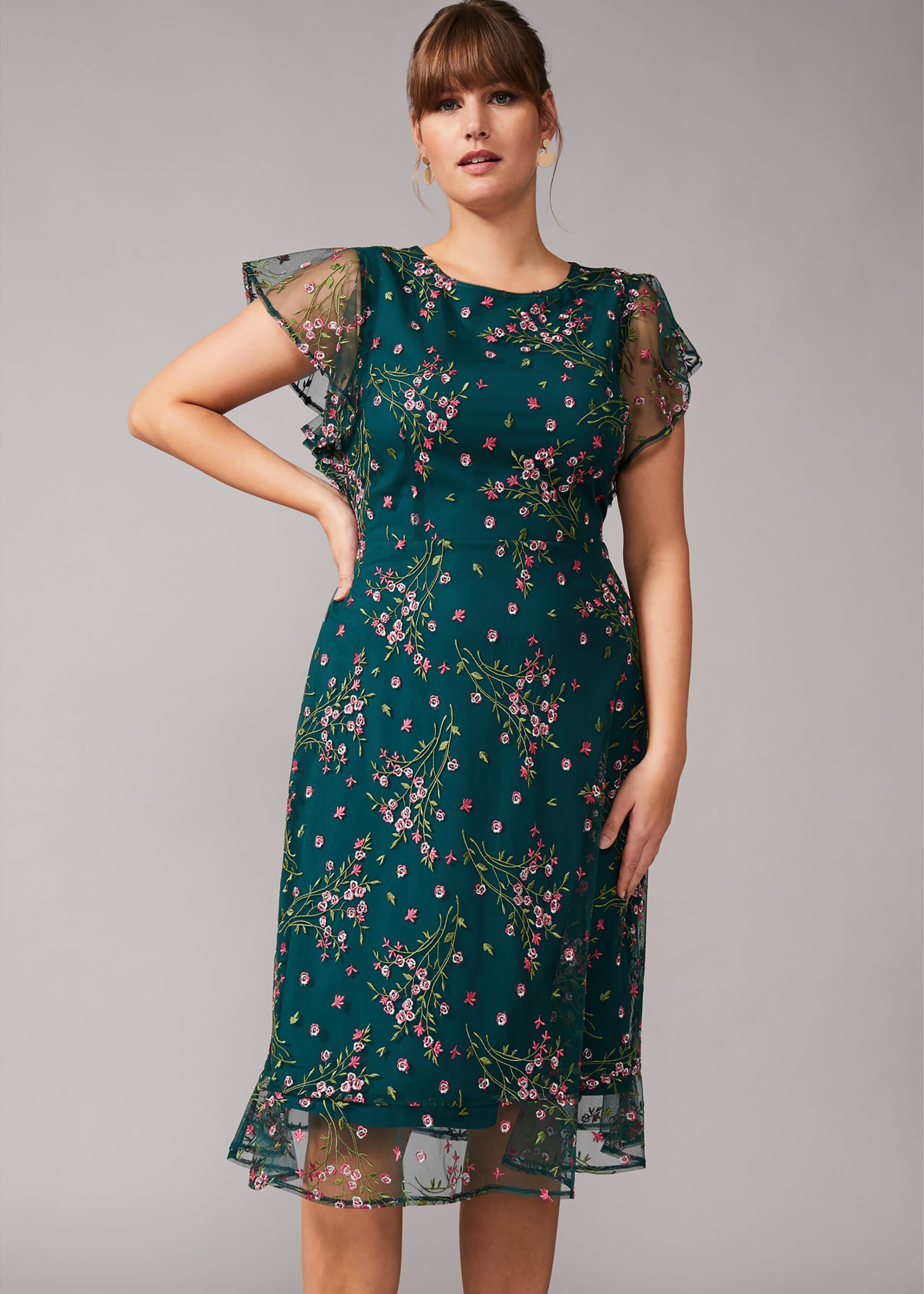Studio 8 Aileen Embroidered Dress, Green, Shift, Occasion Dress