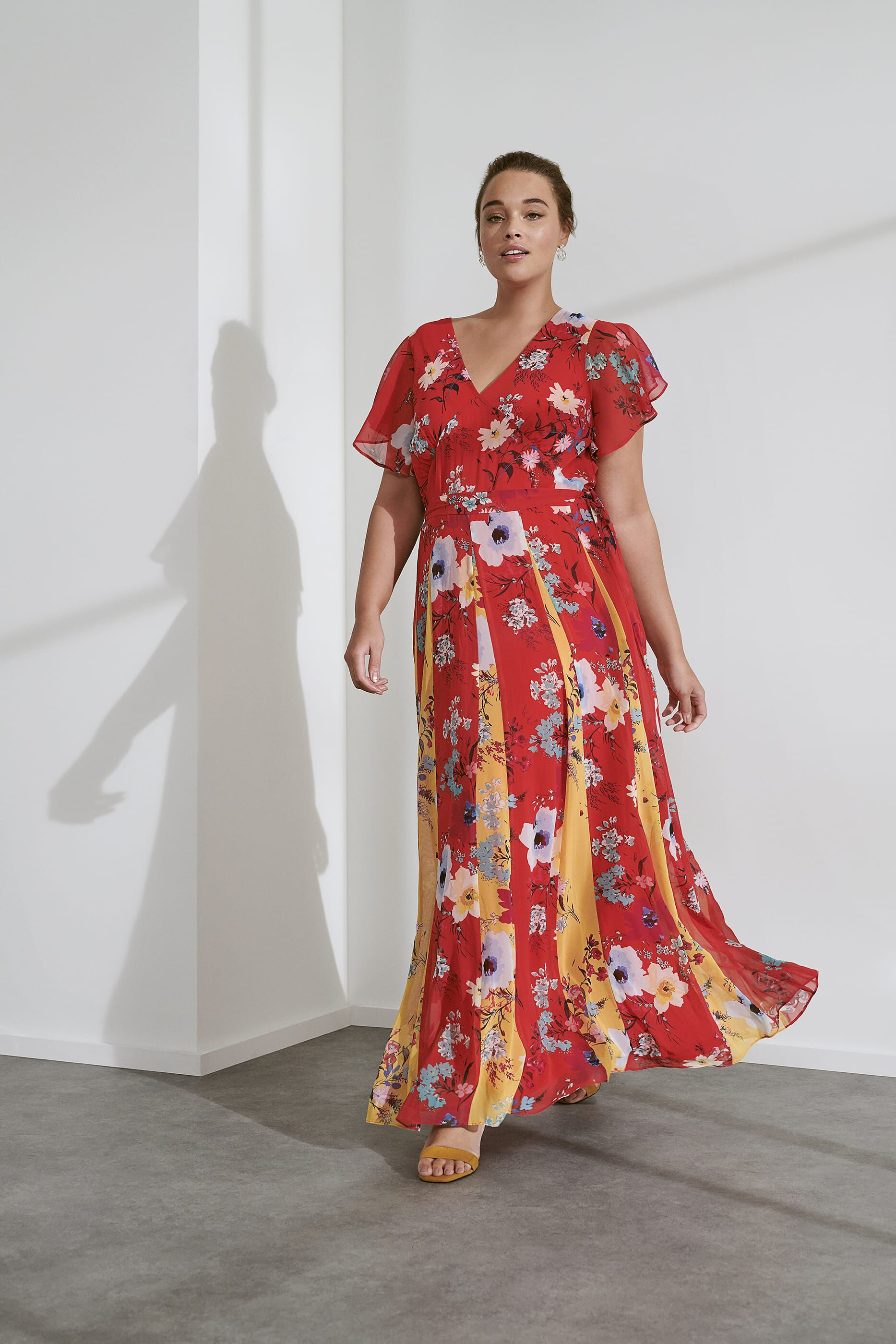 Studio 8 Valerie Contrast Floral Maxi Dress, Red, Maxi, Occasion Dress
