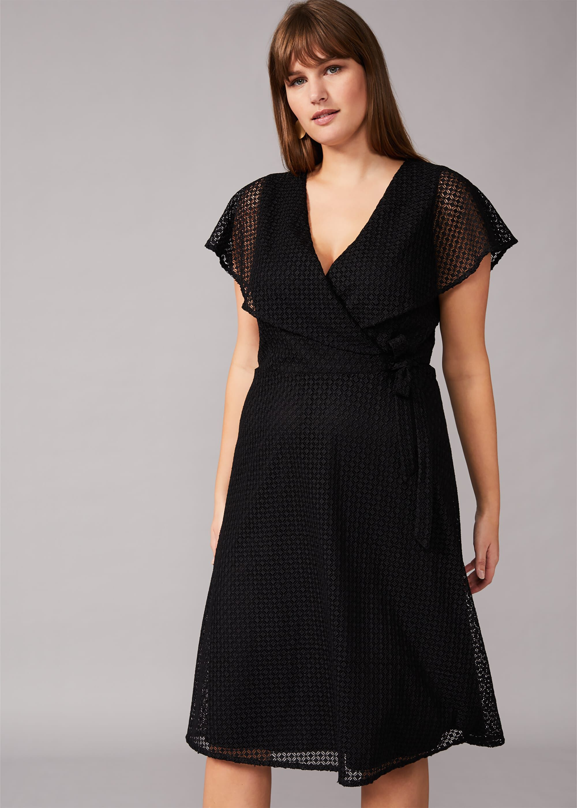 Studio 8 Esmae Geo Lace Dress, Black, Fit & Flare, Occasion Dress