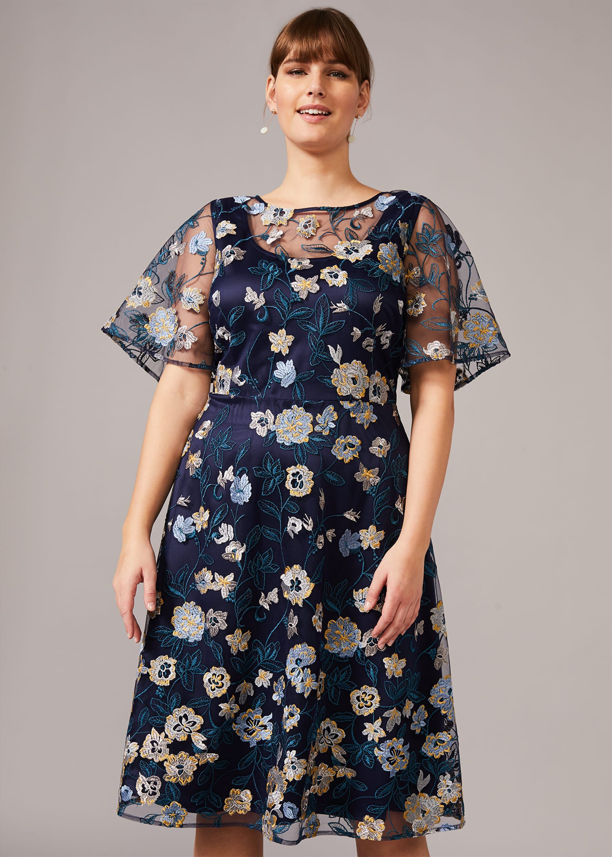 Studio 8 Steff Floral Embroidered Dress, Blue, Fit & Flare, Occasion Dress