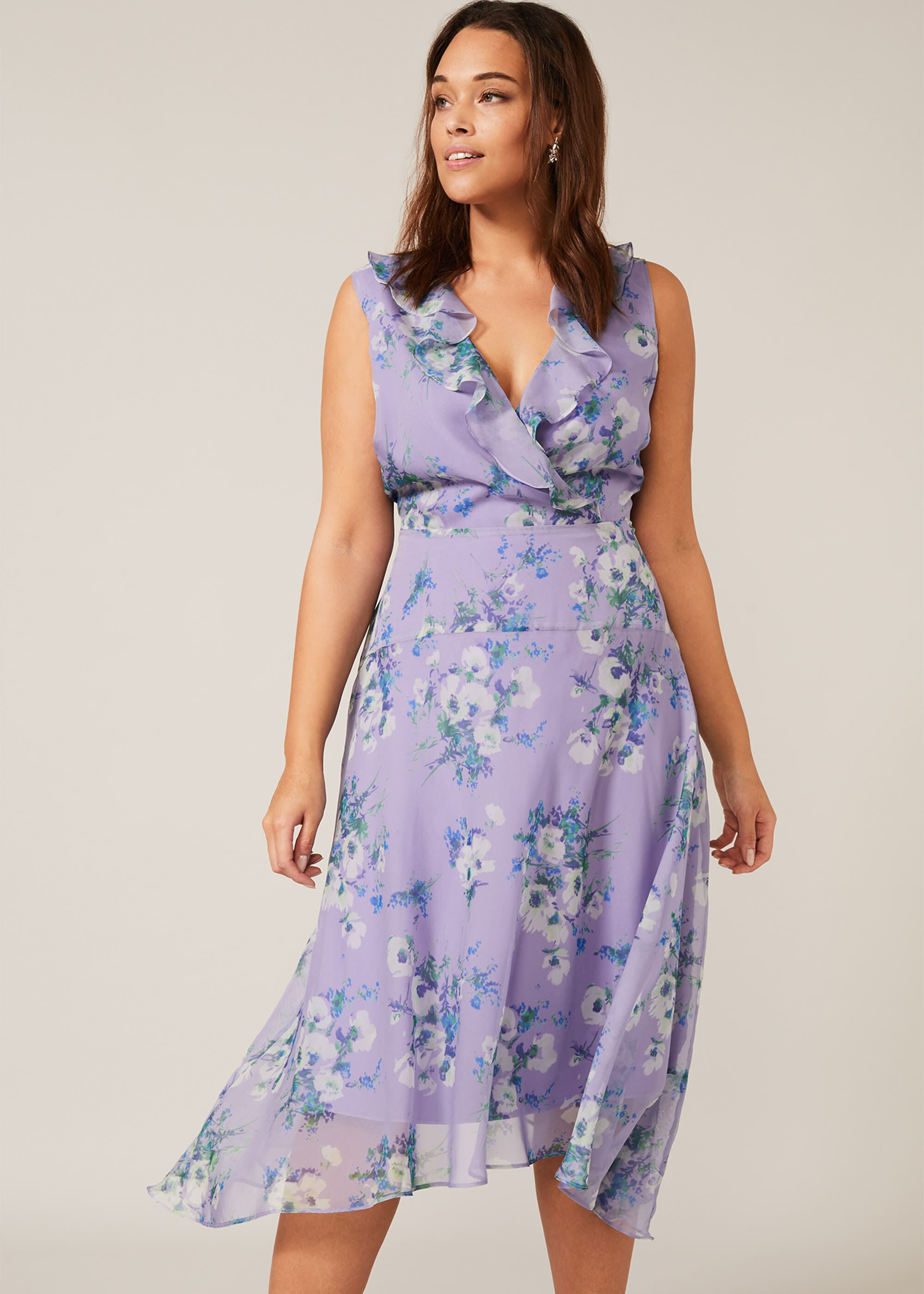 Studio 8 Anya Floral Frill Dress, Purple, Fit & Flare, Occasion Dress