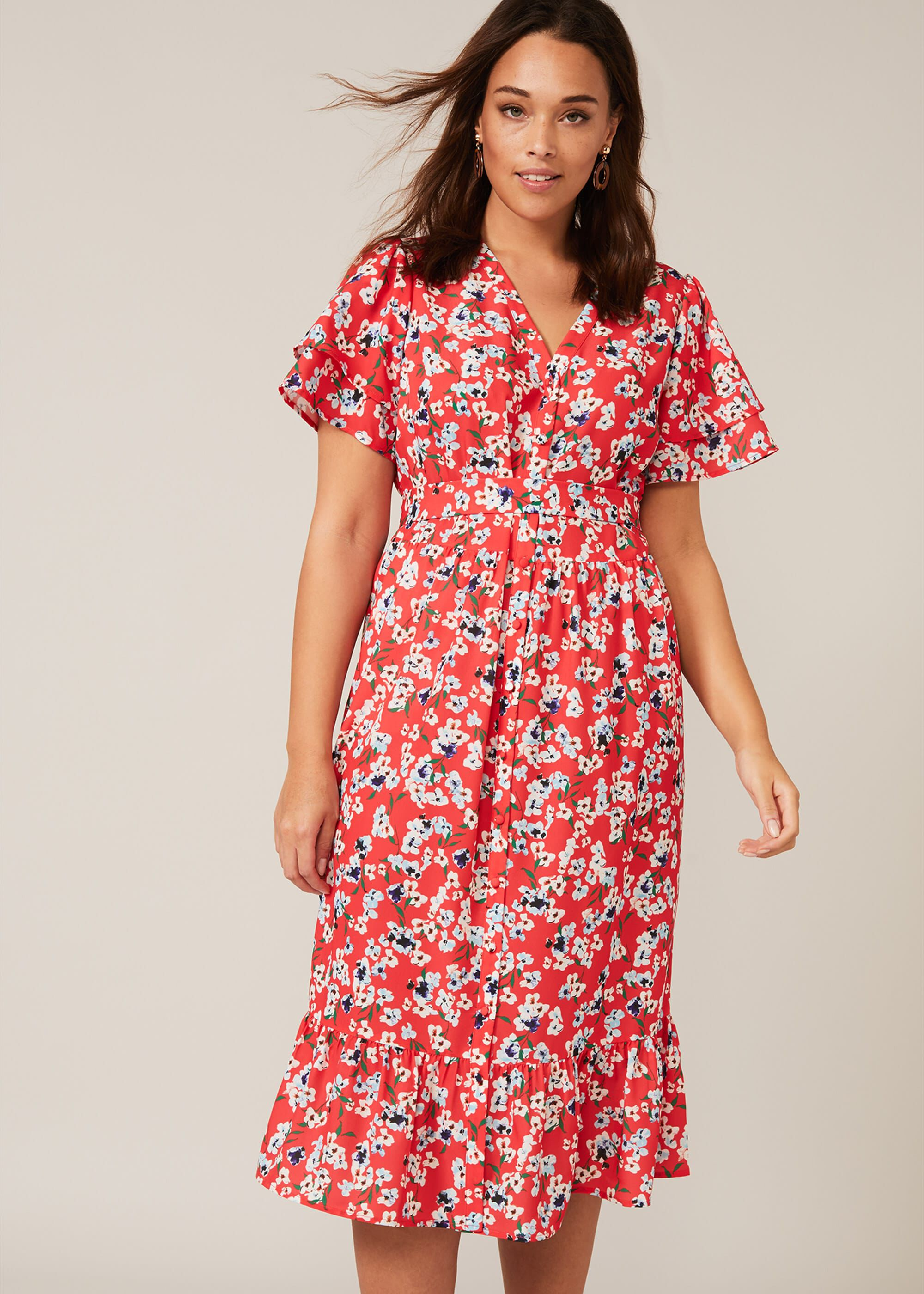 Studio 8 Claudette Ditsy Floral Dress, Red, Shirt, Occasion Dress