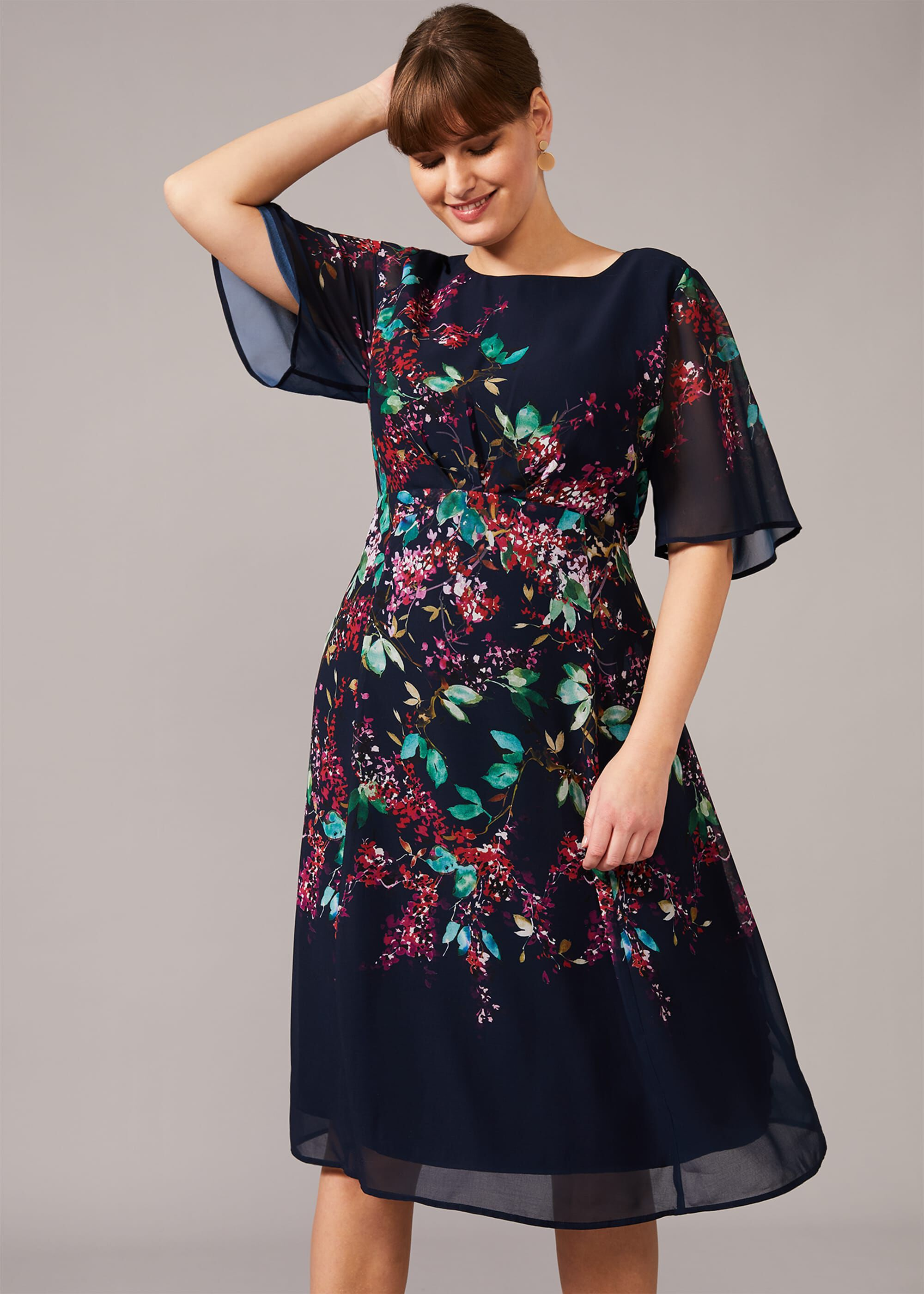 Studio 8 Codie Floral Dress, Blue, Fit & Flare, Occasion Dress