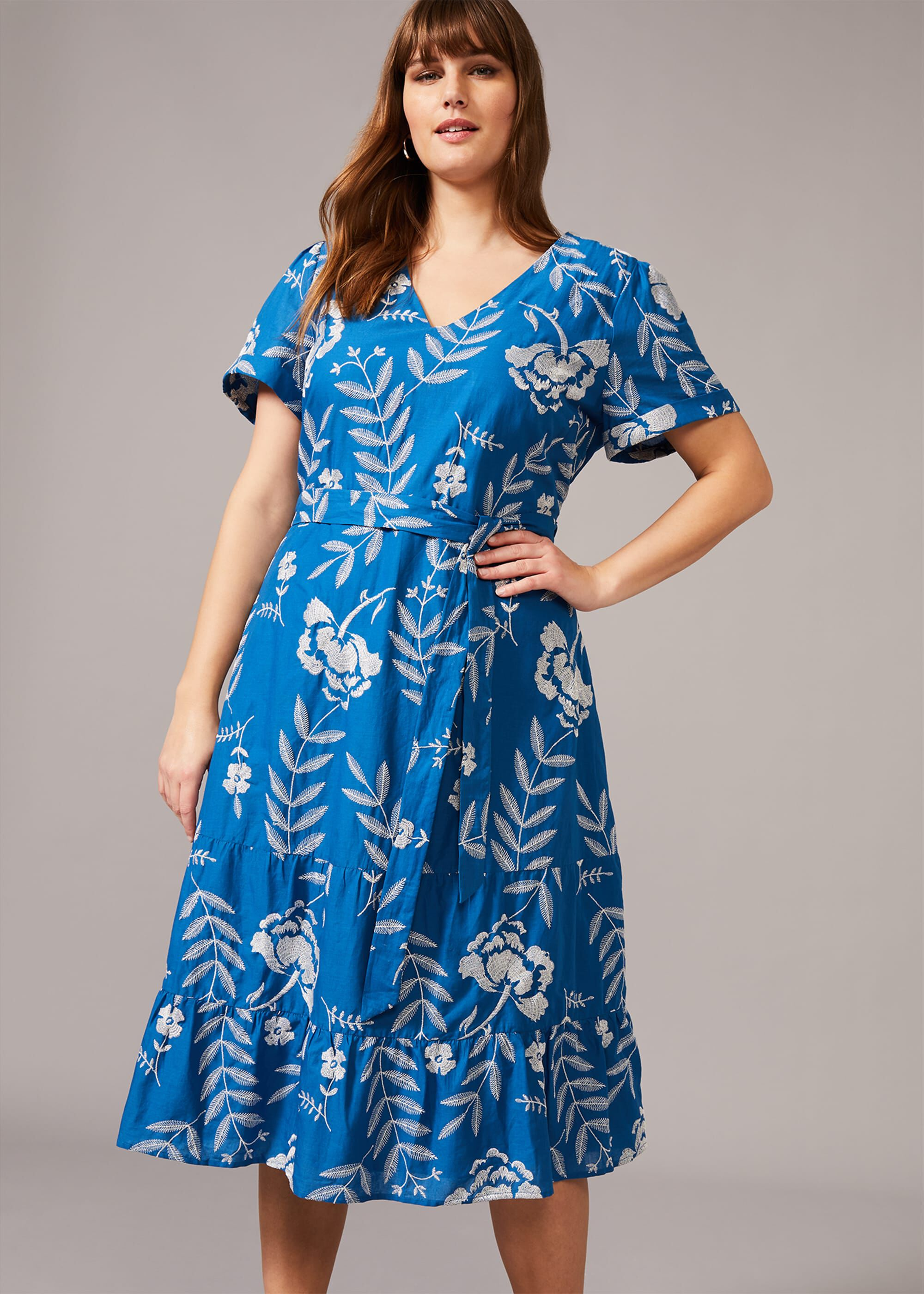 Studio 8 Madelyn Floral Embroidered Dress, Blue, Fit & Flare, Occasion Dress