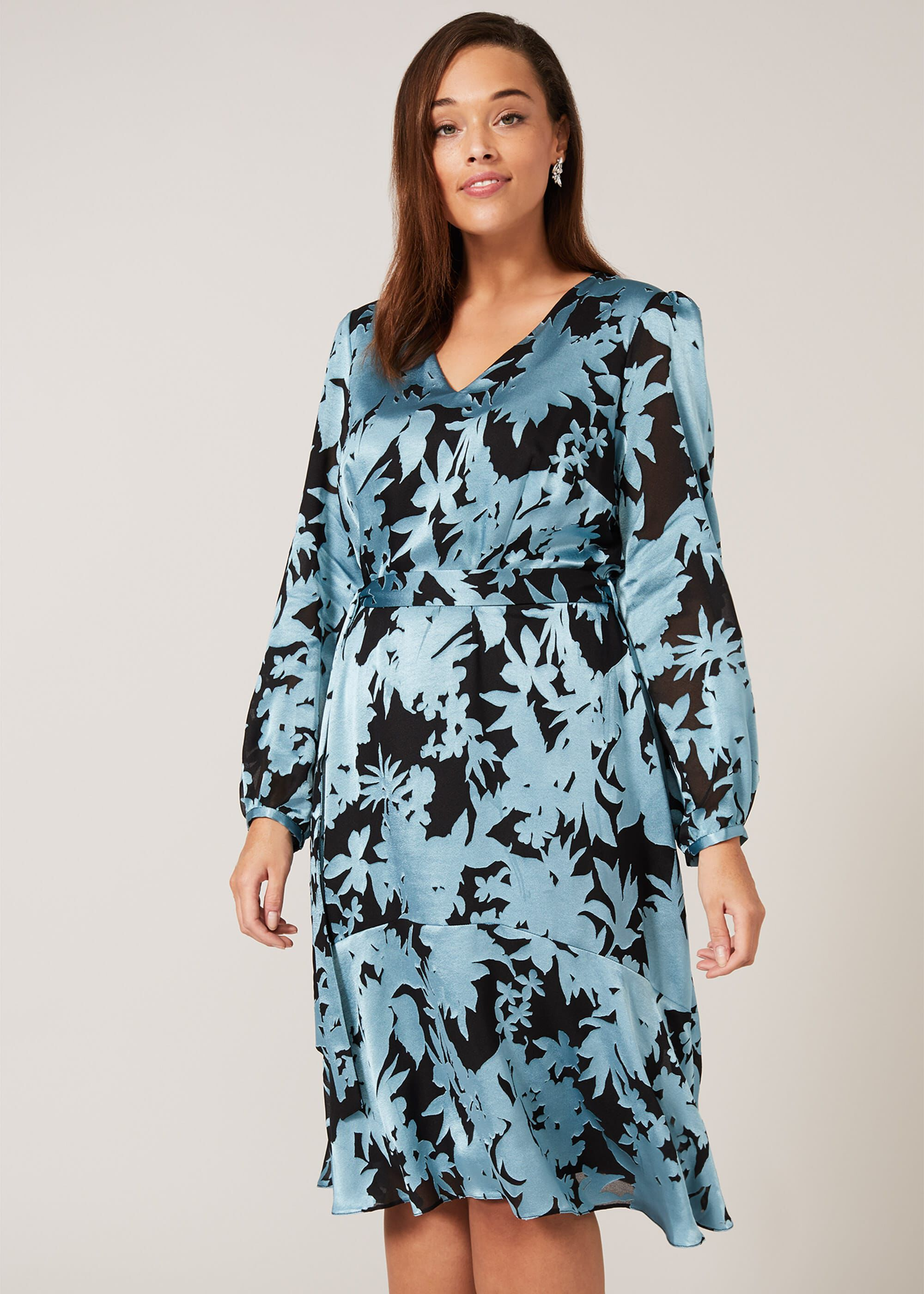 Studio 8 Mina Burnout Dress, Blue, Fit & Flare
