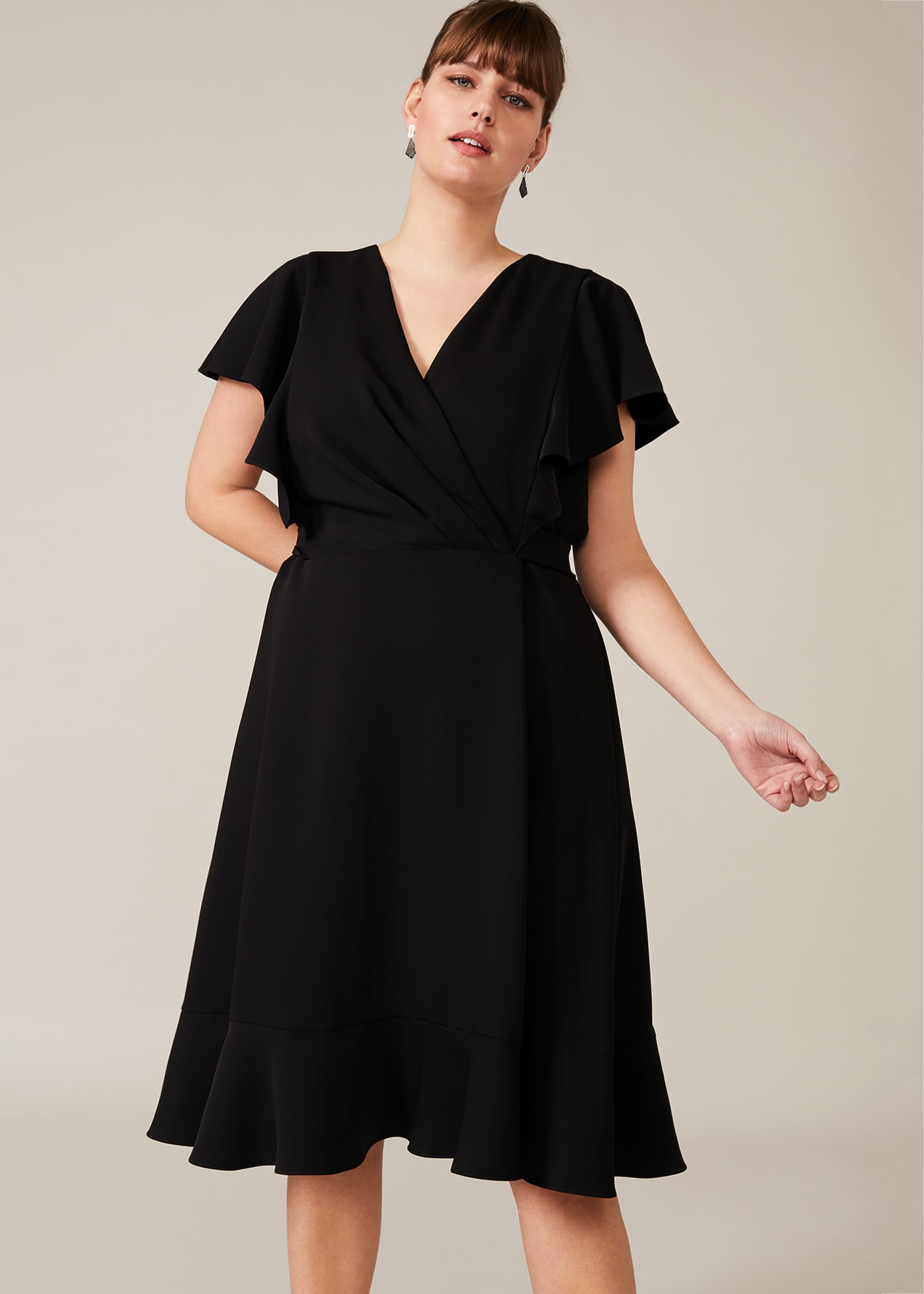 Studio 8 Ruth Frill Sleeve Dress, Black, Fit & Flare, Occasion Dress
