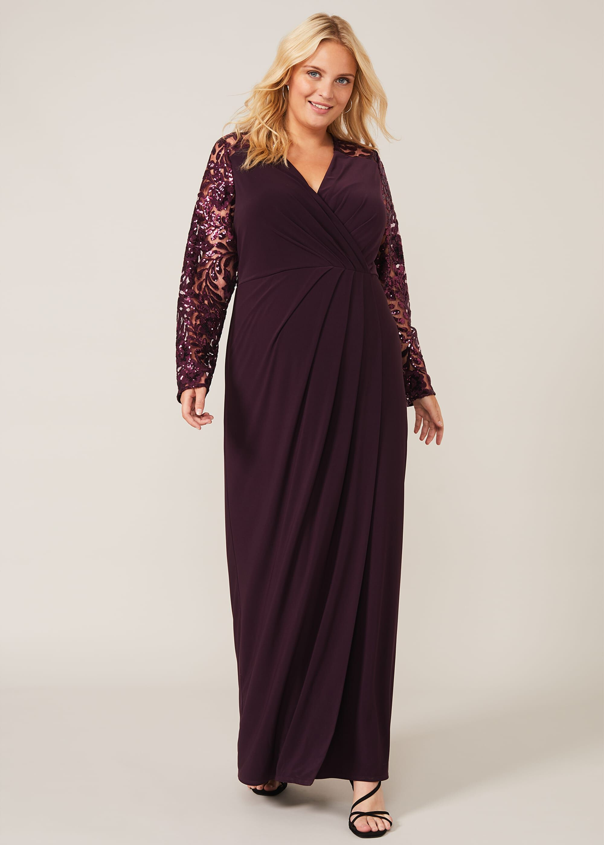 Studio 8 Melony Sequin Sleeve Maxi Dress, Purple, Maxi