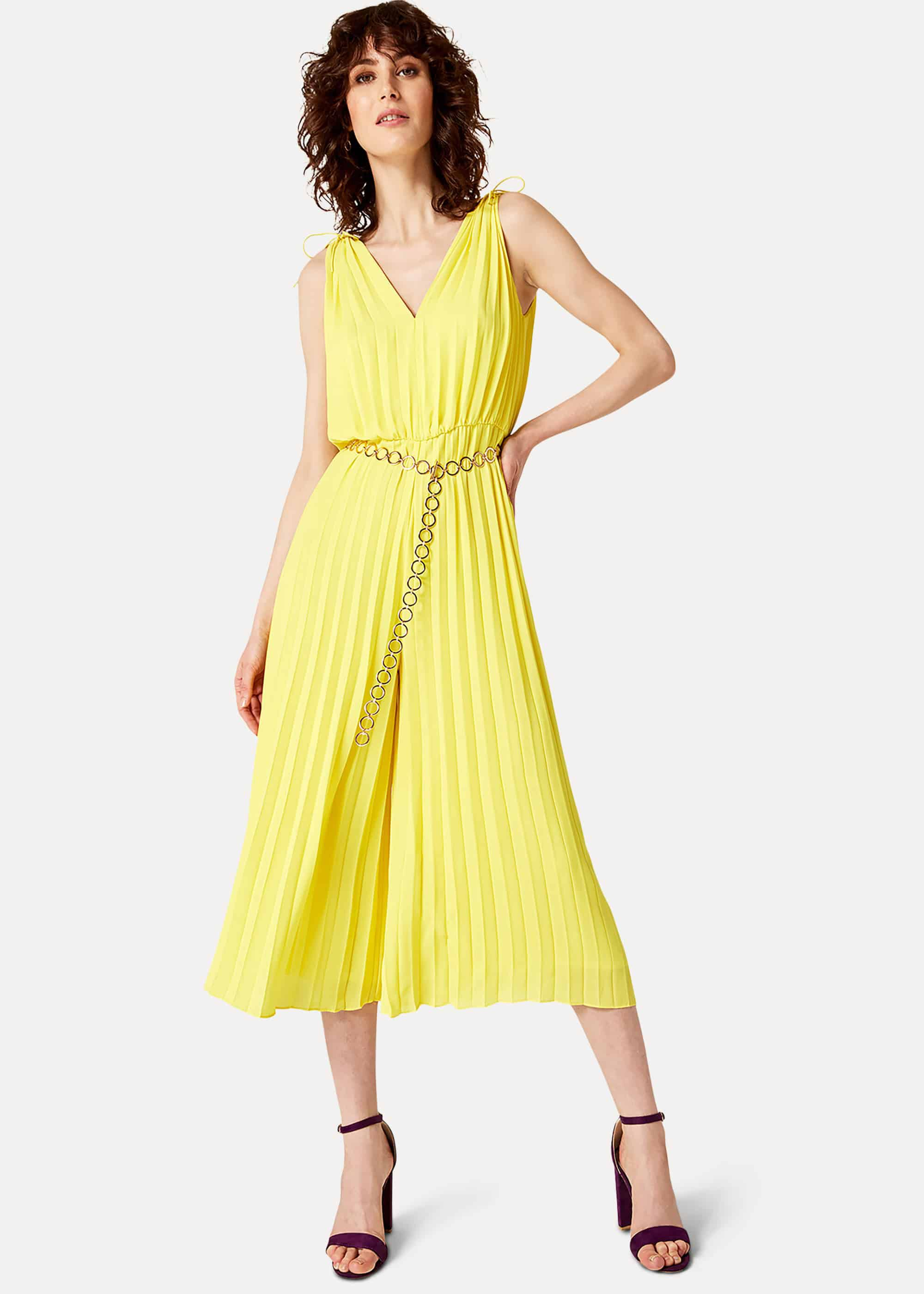 Damsel in a Dress Franky Pleat Belted Jumpsuit, Yellow