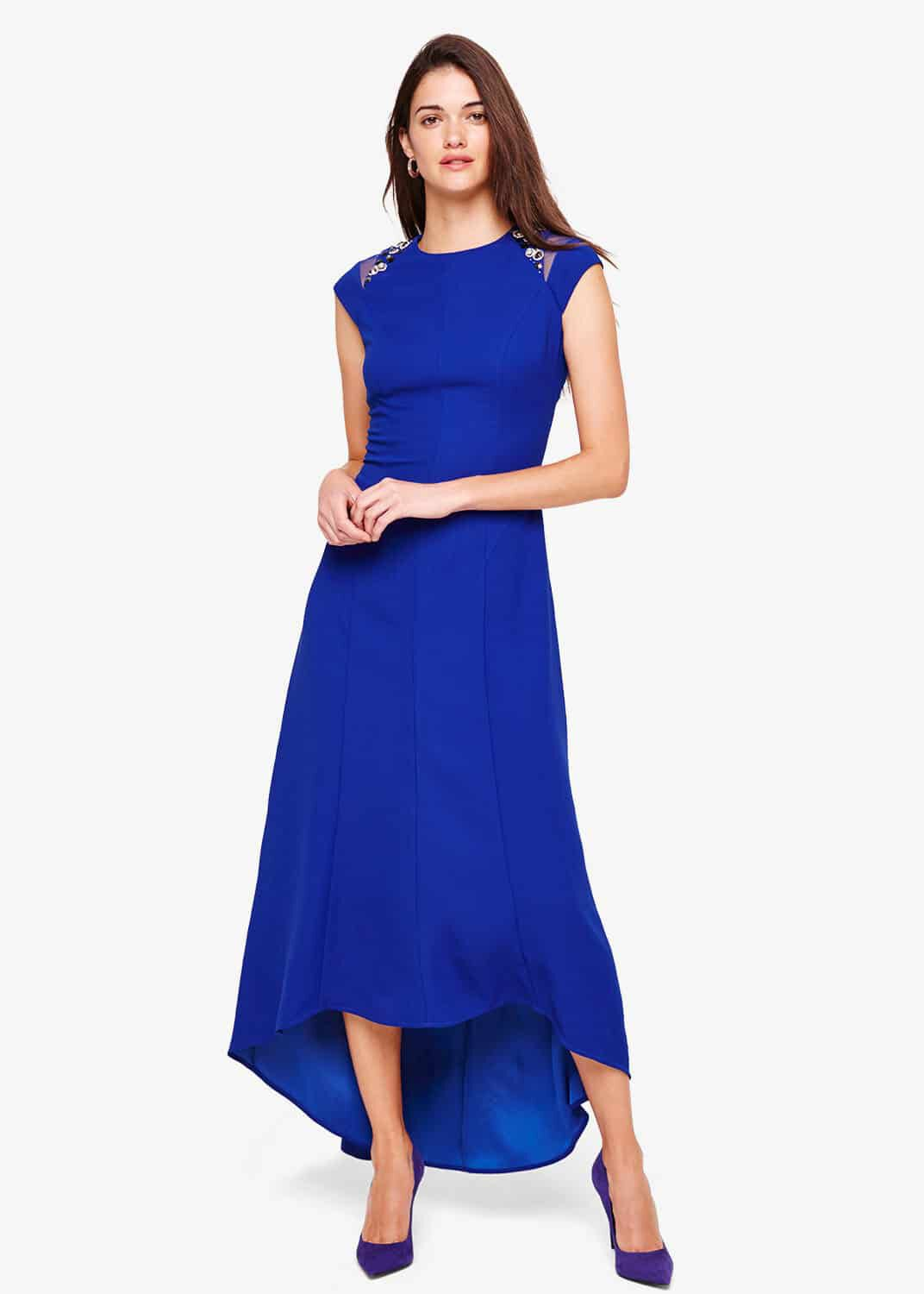 Damsel in a Dress Deniz Embellished Shoulder Maxi Dress, Blue