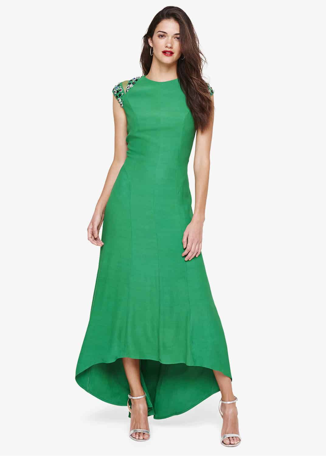 Damsel in a Dress Deniz Embellished Shoulder Maxi Dress, Green