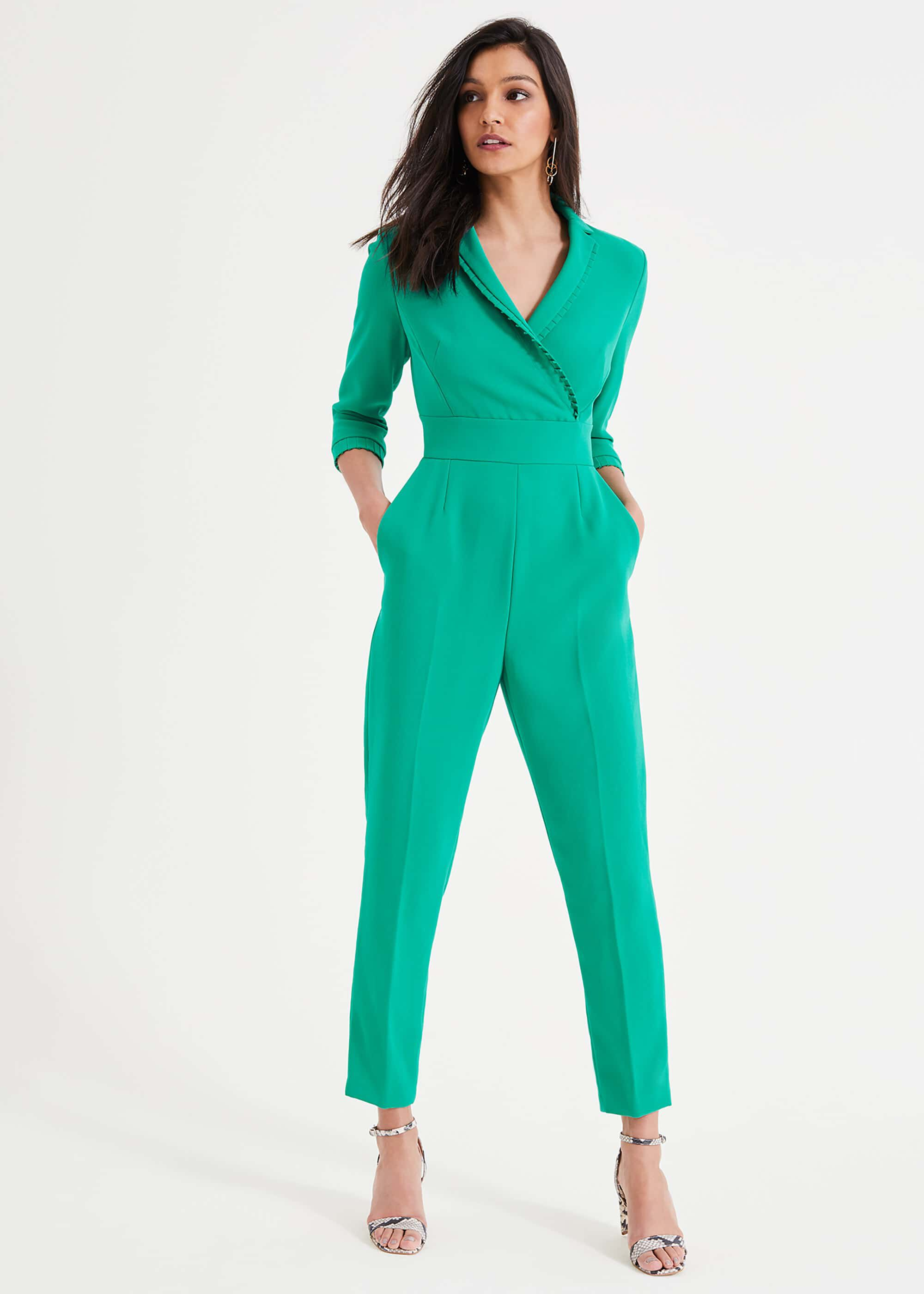 Damsel in a Dress Carris Pleat Detail Jumpsuit, Green