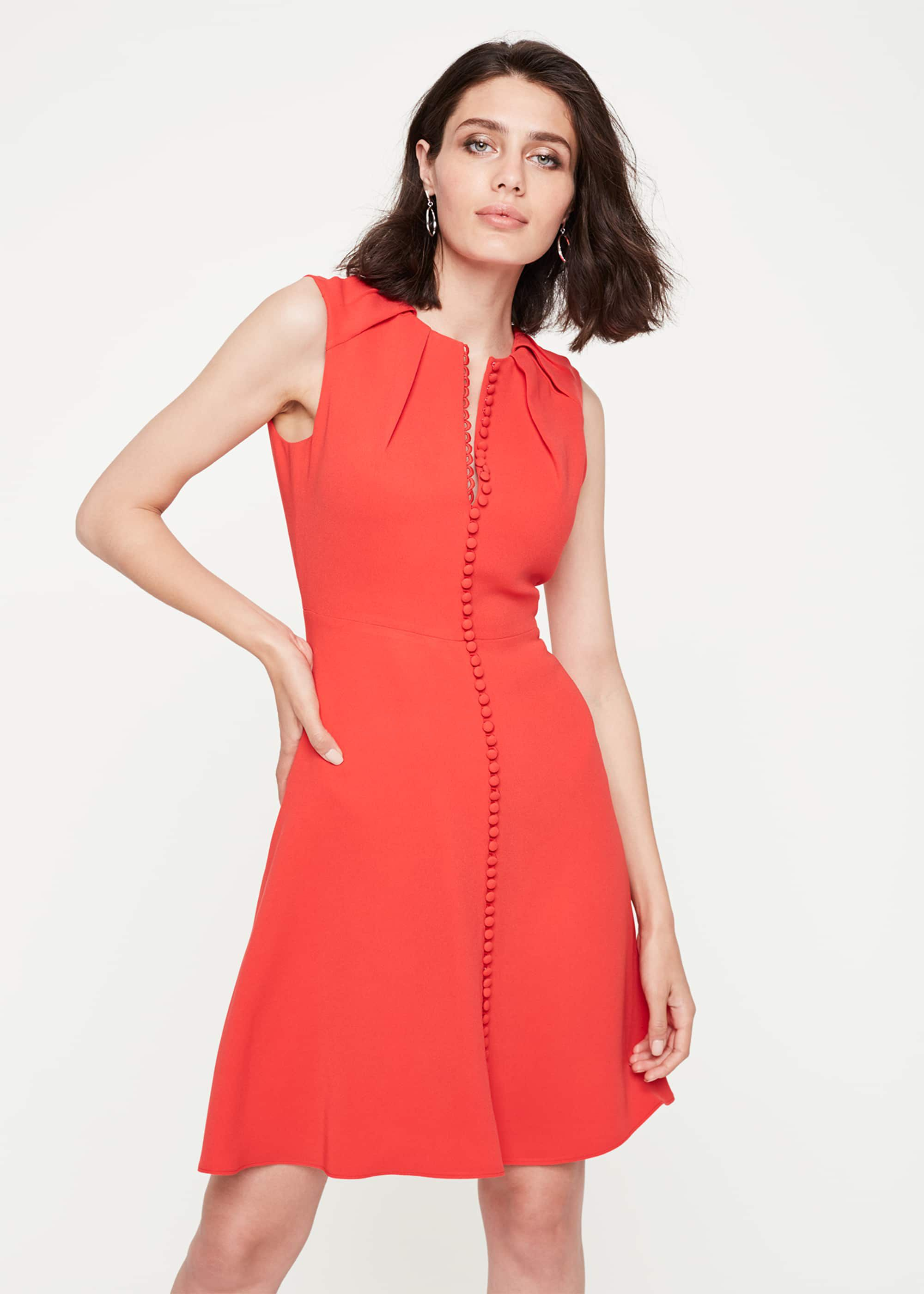 Damsel in a Dress Bella Button Detail Dress, Red