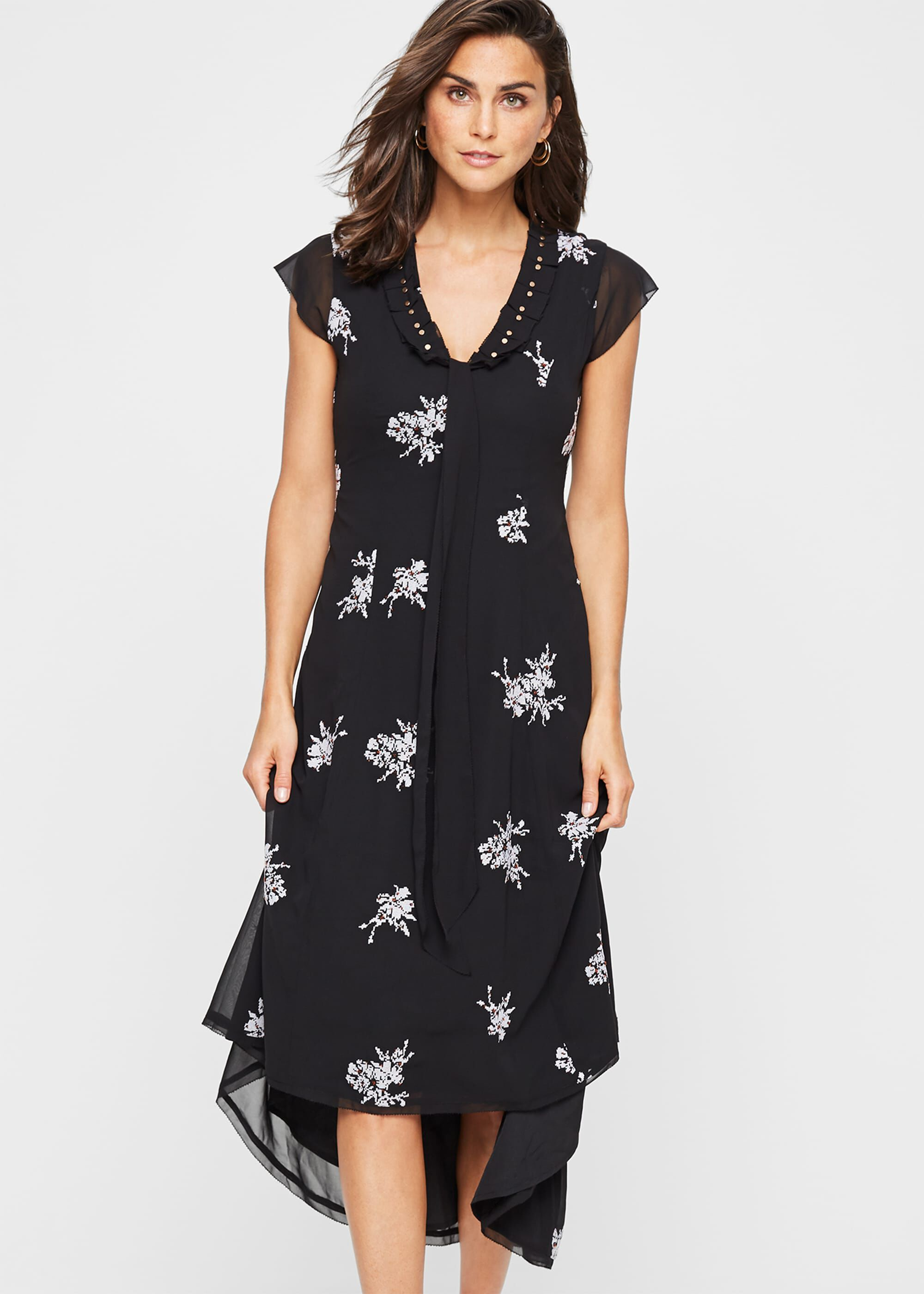 Damsel in a Dress Mirna Embroidered Beaded Dress, Black
