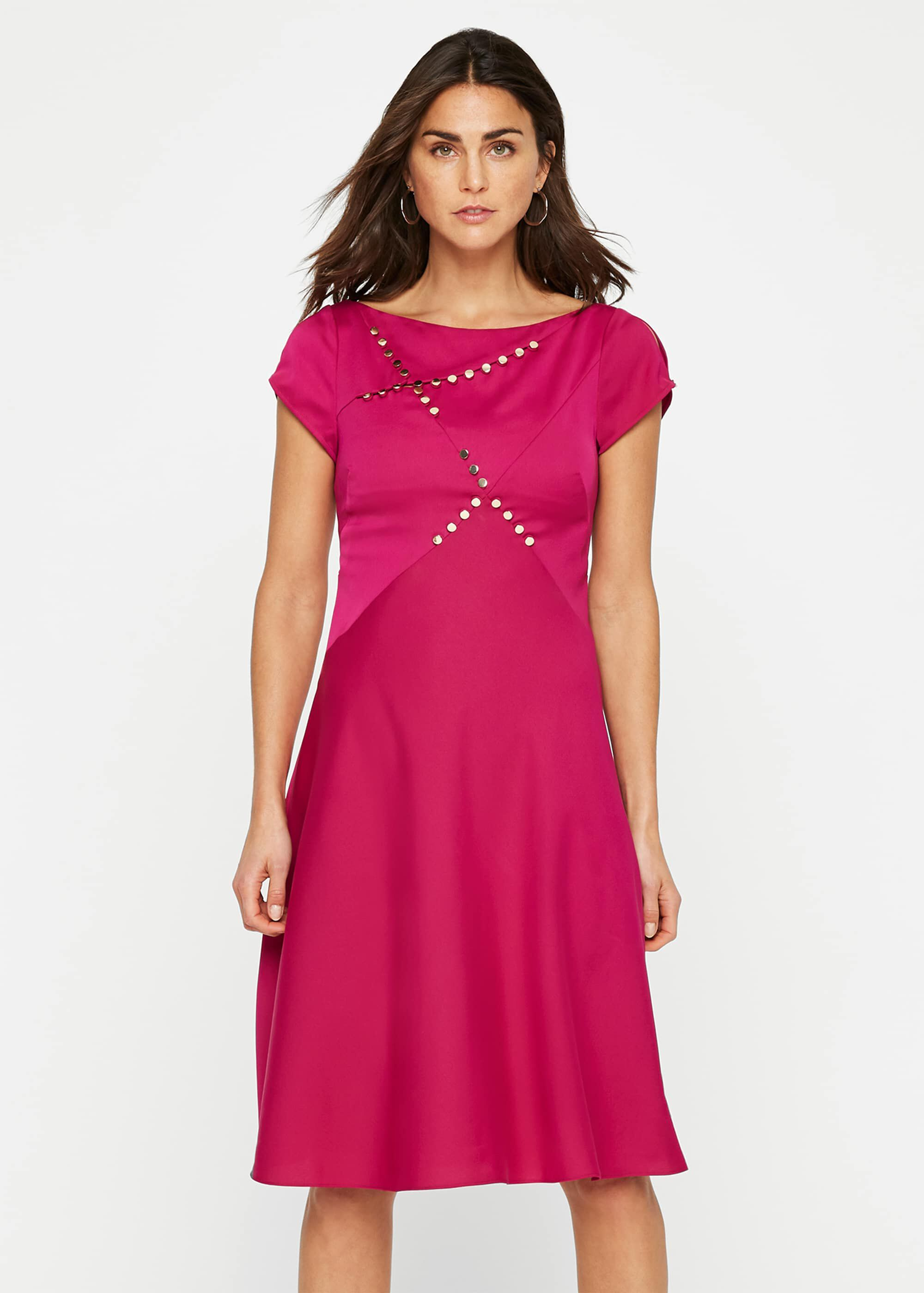 Damsel in a Dress Delia Stud Detail Dress, Purple, Occasion Dress