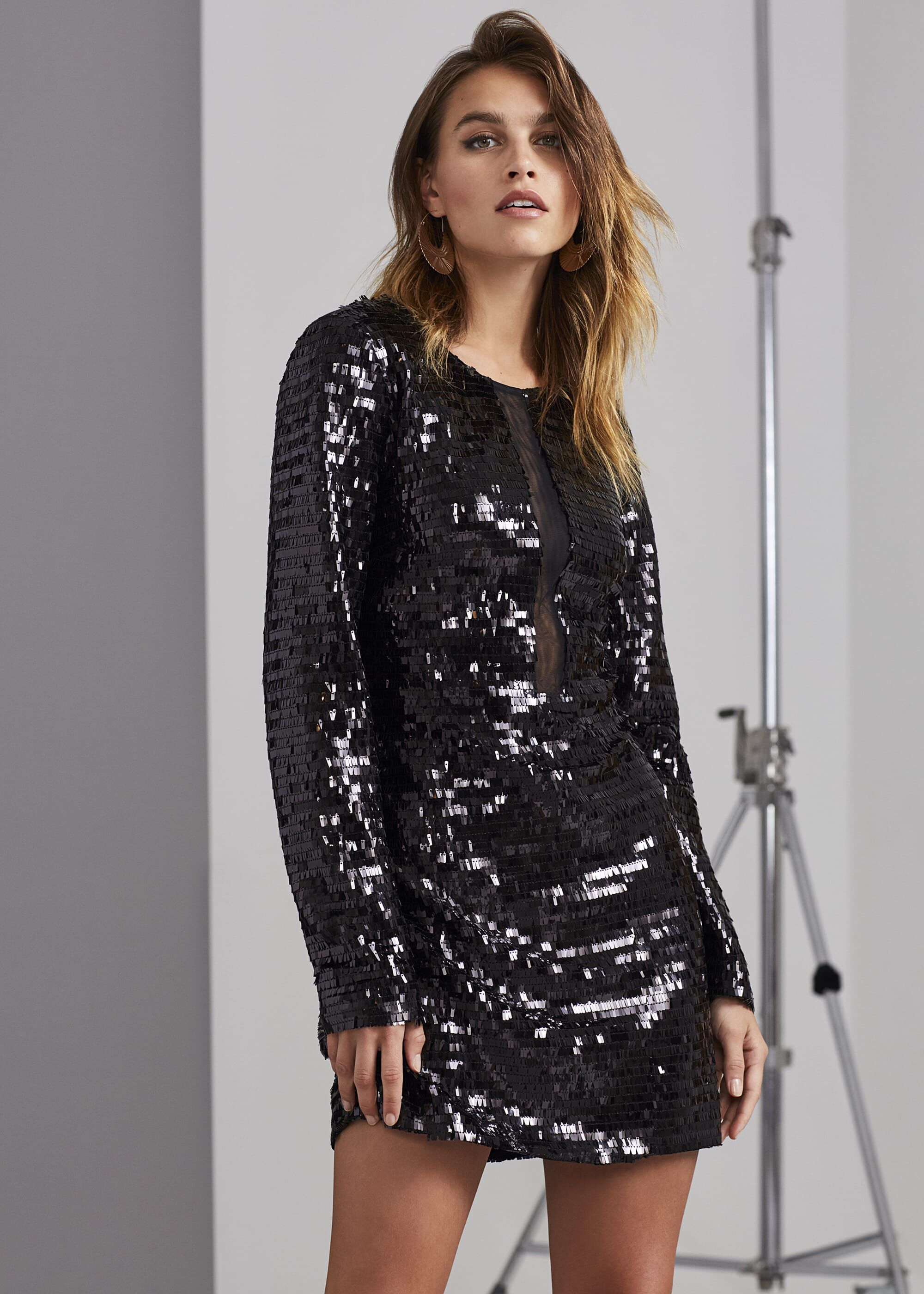 Damsel in a Dress Nelle Sequin Dress, Black
