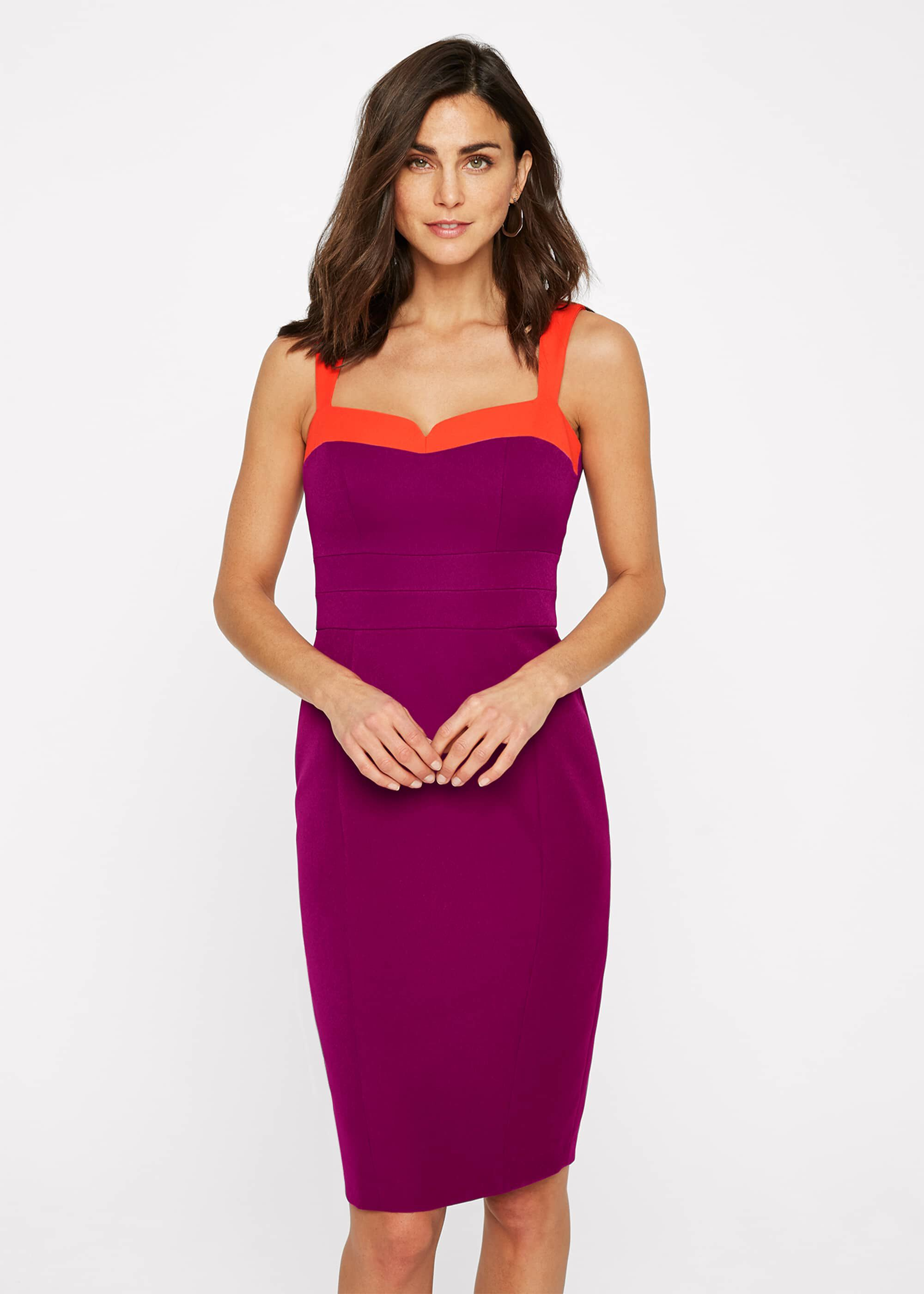 Damsel in a Dress Vida Colourblock Fitted Dress, Purple, Occasion Dress