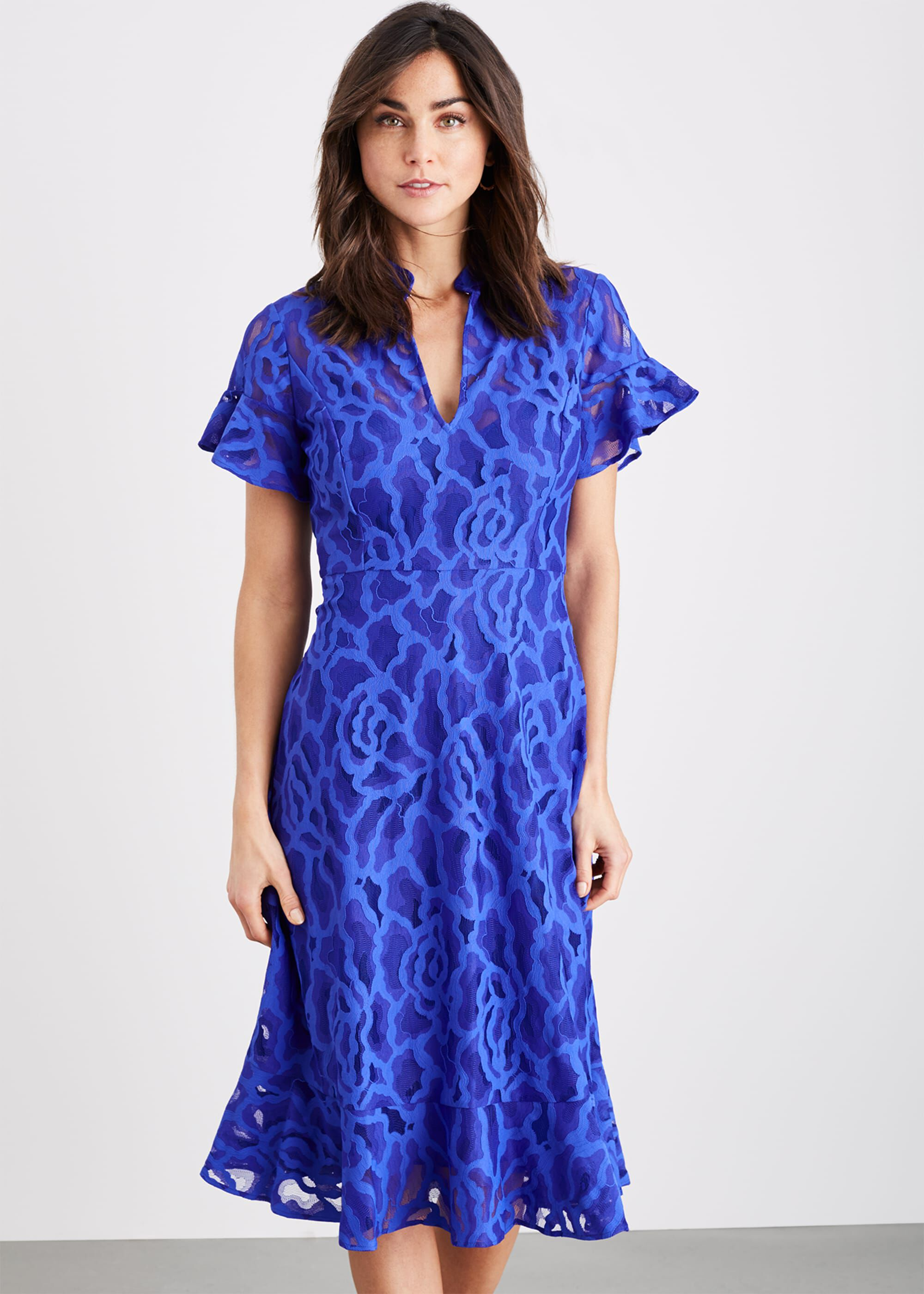 Damsel in a Dress Lulu Floral Lace Dress, Blue, Occasion Dress