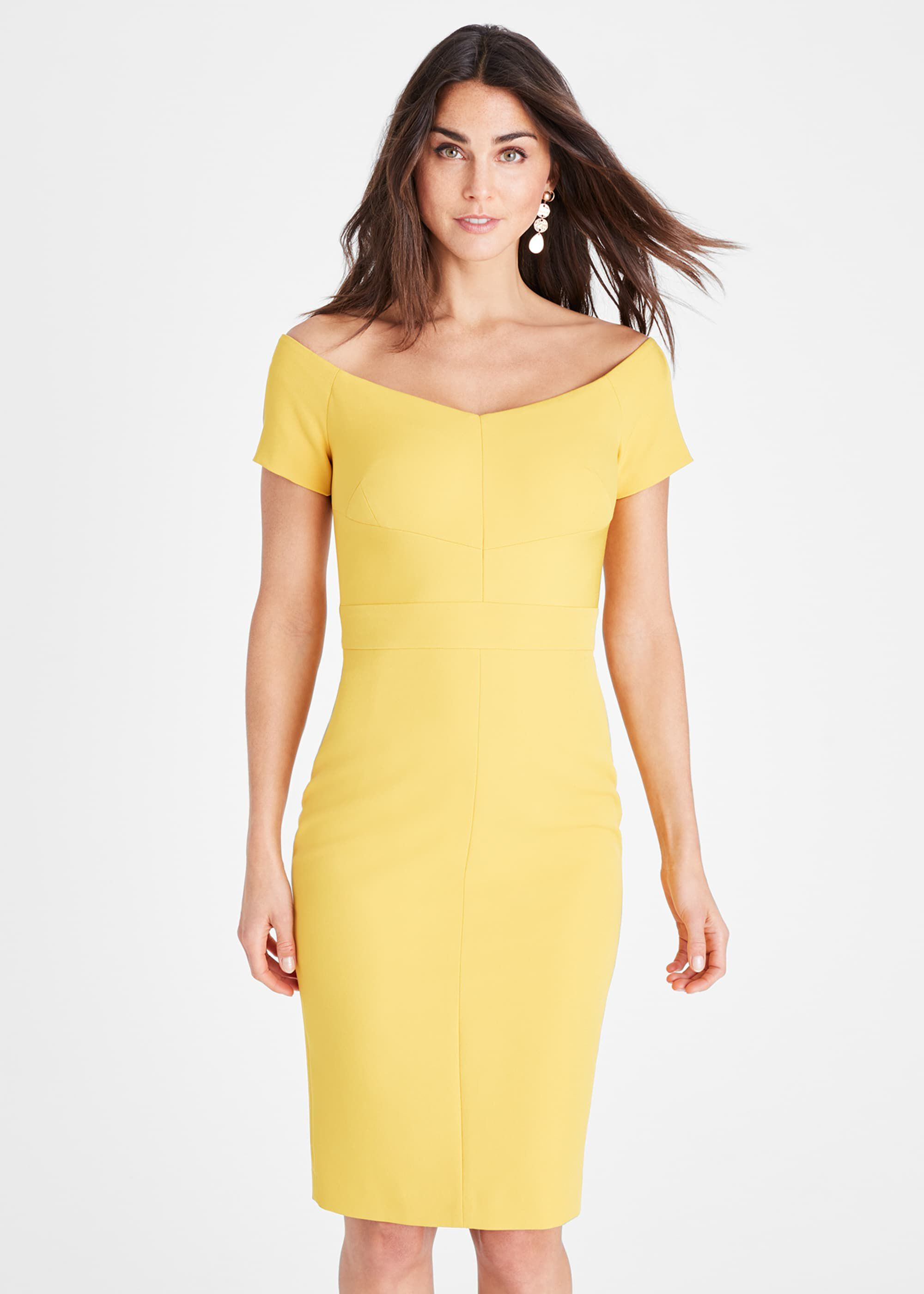 Damsel in a Dress Angalina Off Shoulder Dress, Yellow, Occasion Dress