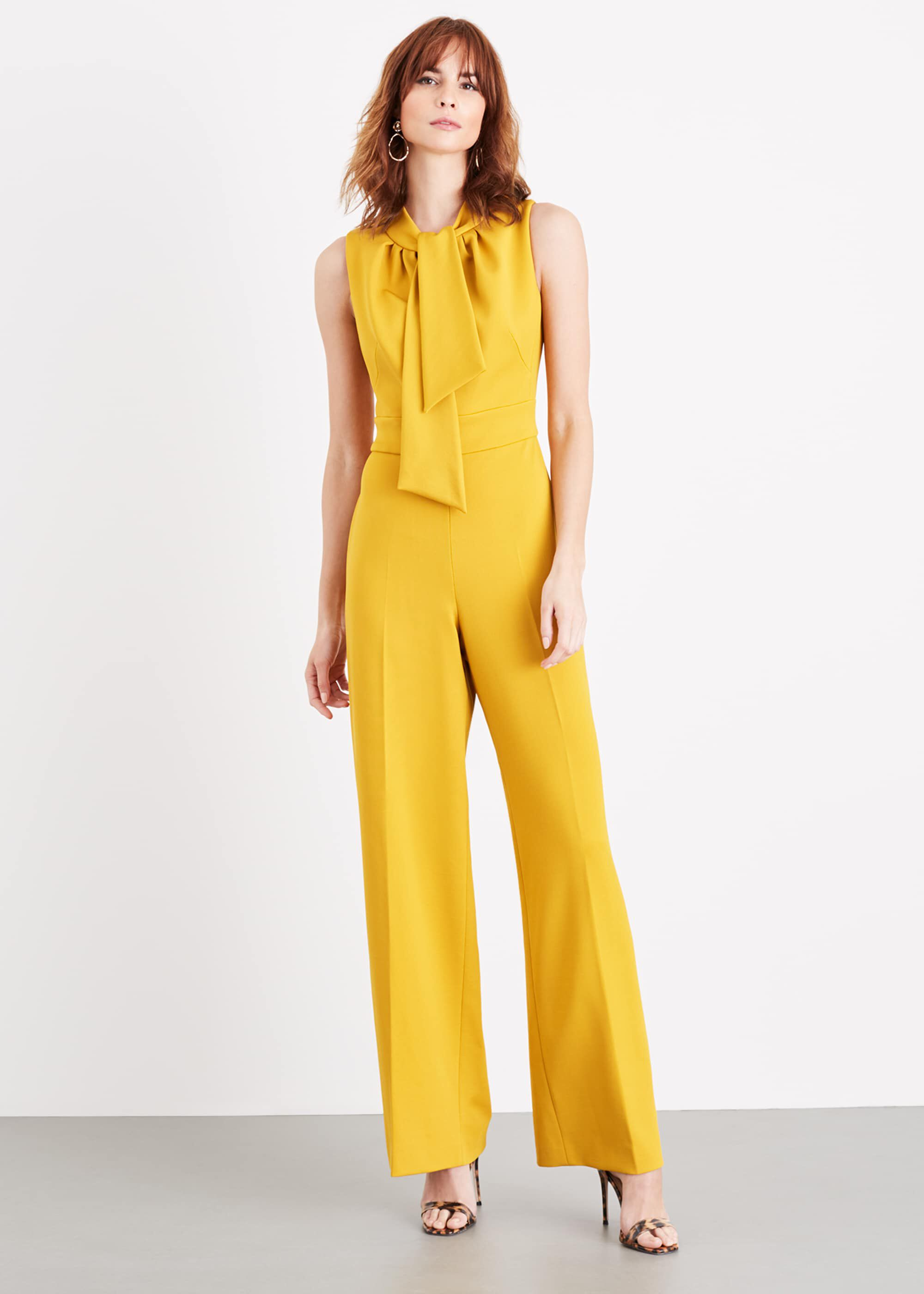 Damsel in a Dress Tyna Neck Tie Jumpsuit, Yellow