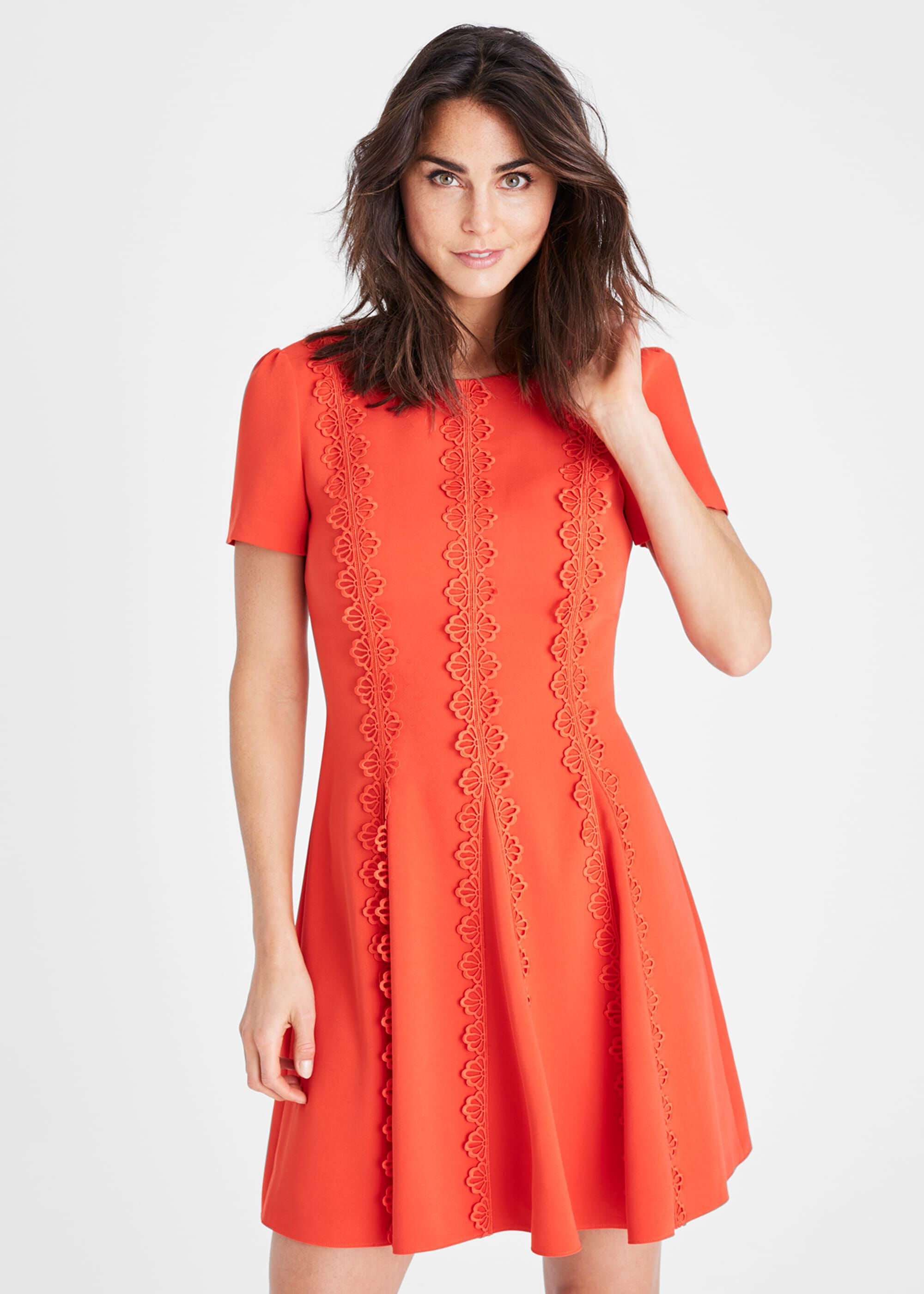 Damsel in a Dress Tavi Lace Detail Dress, Orange, Occasion Dress