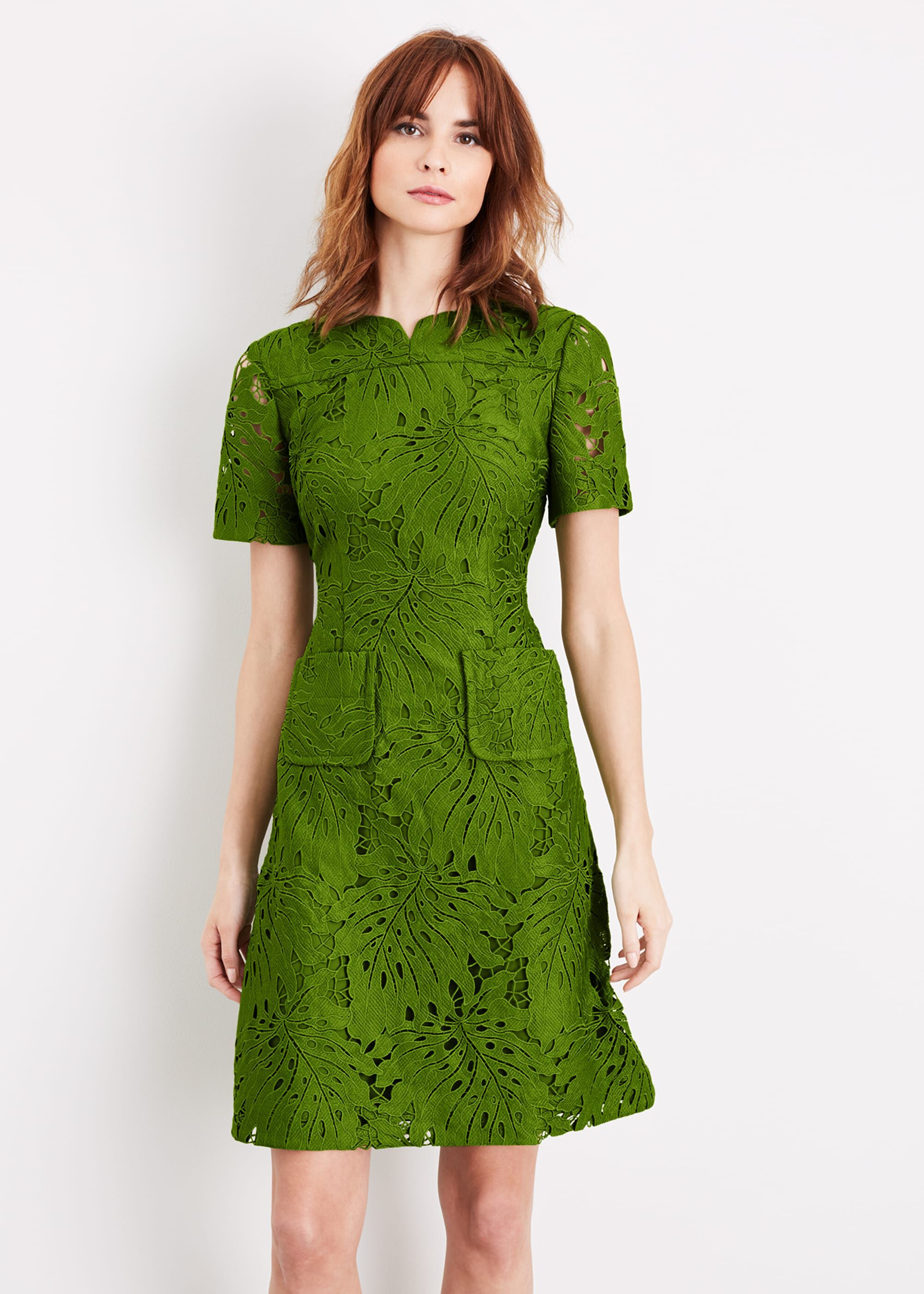 Damsel in a Dress Yazi Palm Lace Dress, Green, Occasion Dress