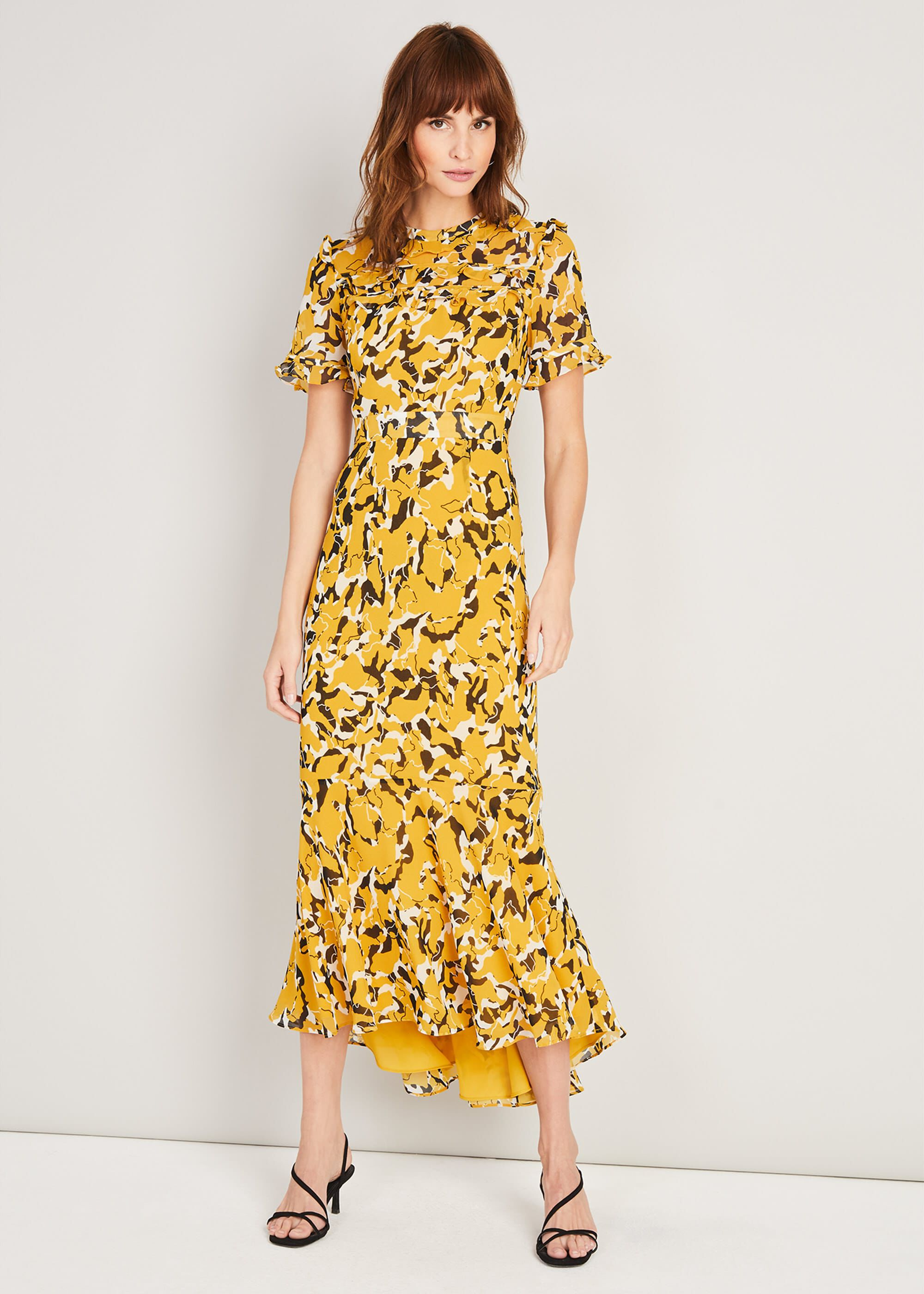 Damsel in a Dress Leigh Printed Maxi Dress, Yellow, Occasion Dress