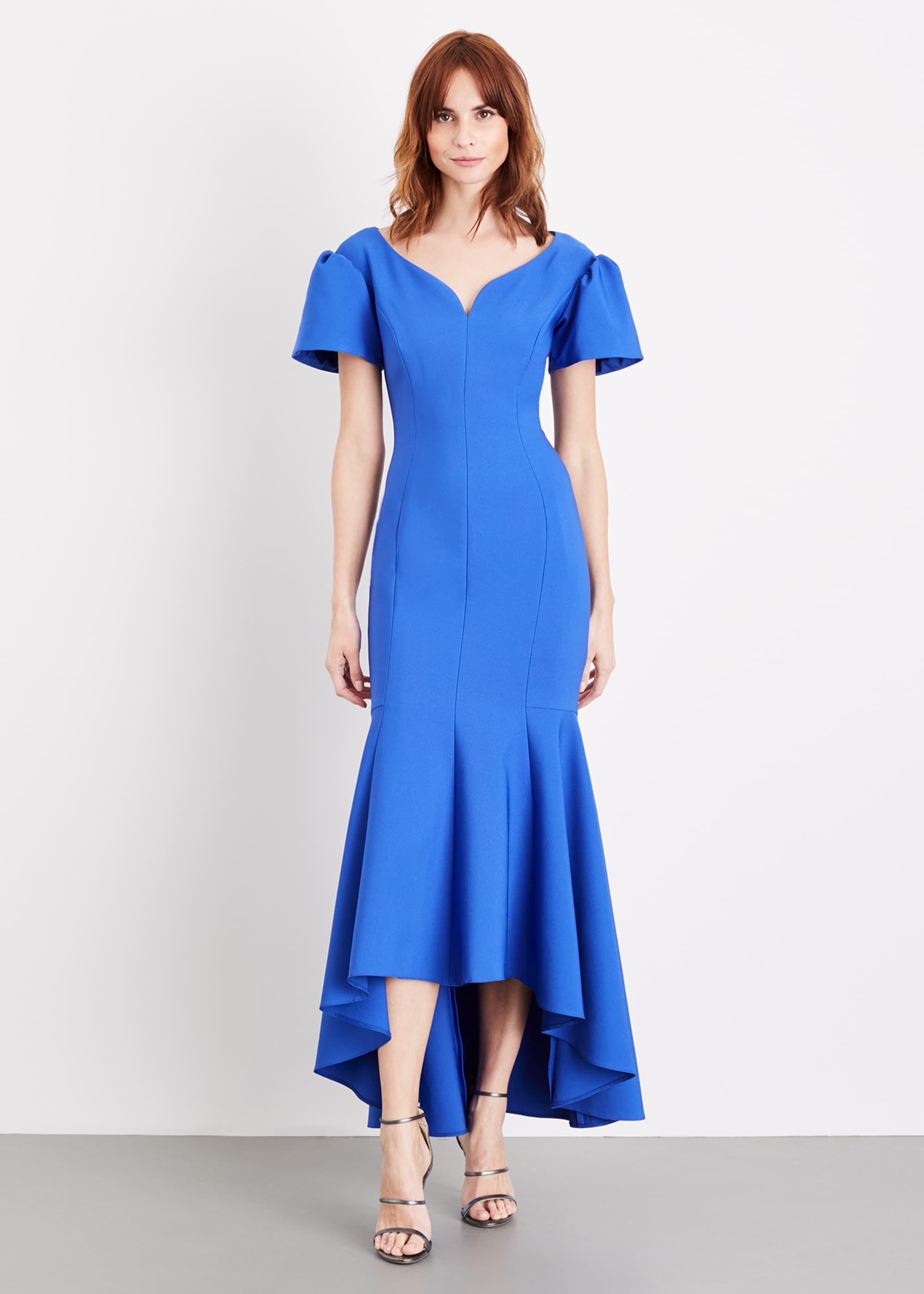 Damsel in a Dress Maddi Bardot Maxi Dress, Blue, Occasion Dress