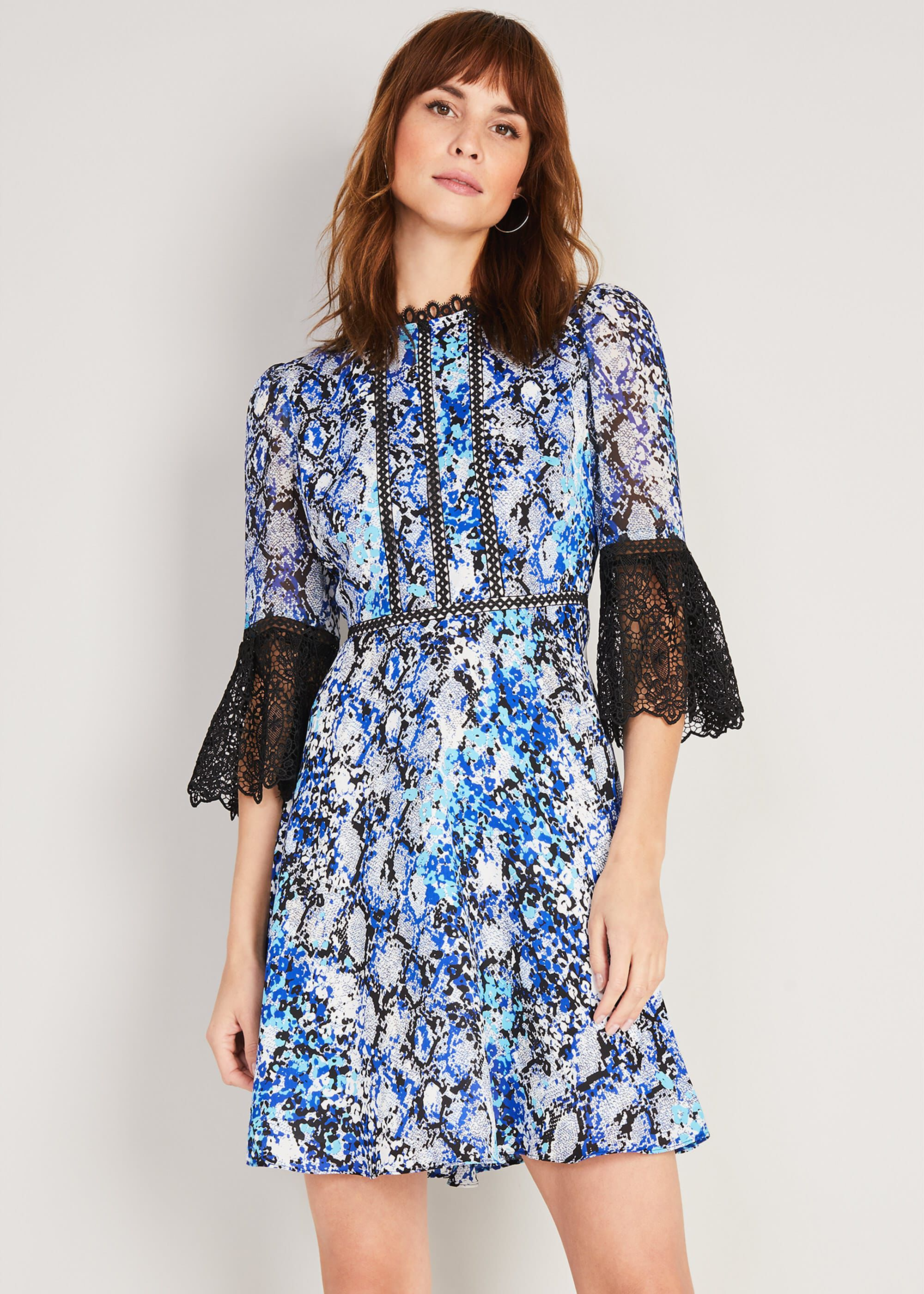Damsel in a Dress Anysia Snake Print Dress, Blue, Occasion Dress