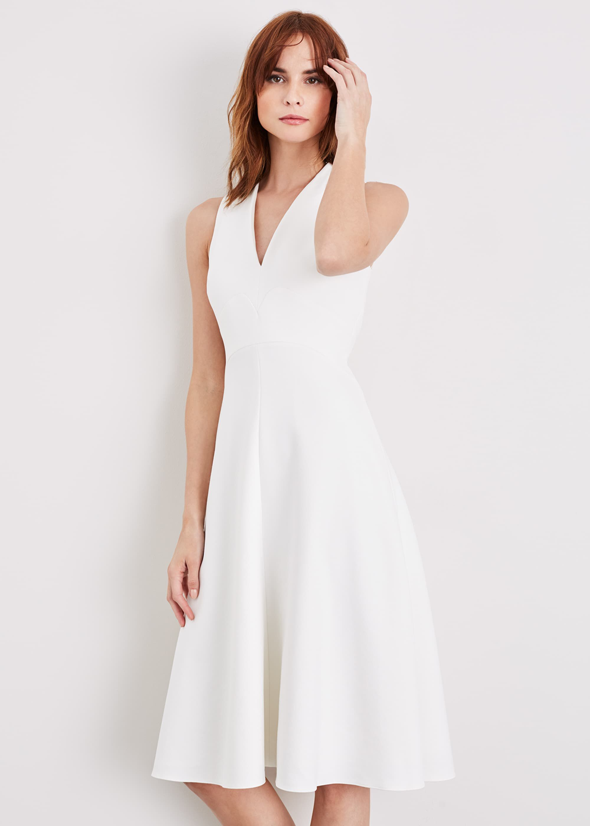 Damsel in a Dress Maralina Fit And Flare Dress, Cream, Occasion Dress