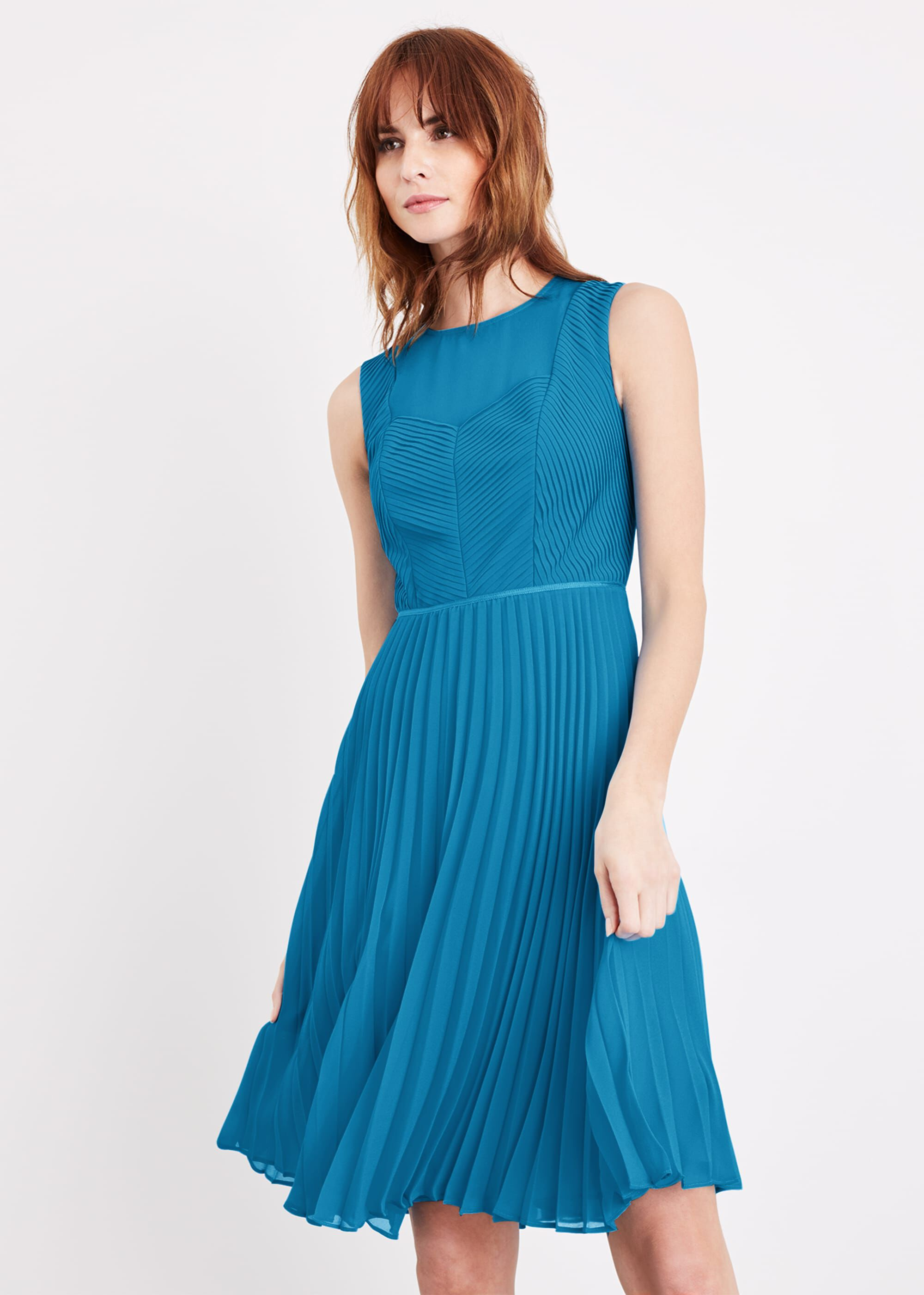 Damsel in a Dress Edythe Pleat Dress, Blue, Occasion Dress