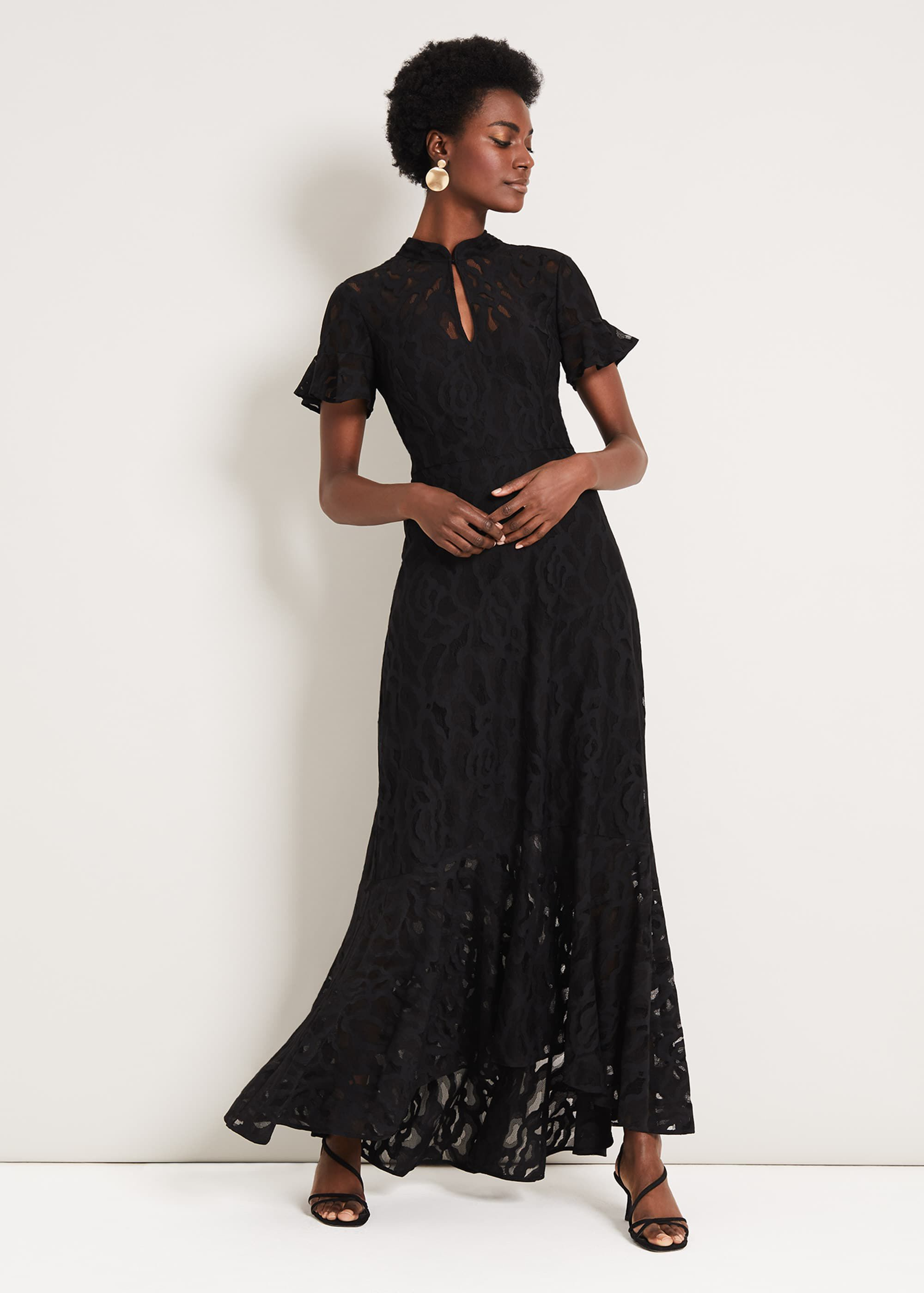1940s Dress Styles Damsel in a Dress Lulu Lace Maxi Dress Black Occasion Dress £220.00 AT vintagedancer.com
