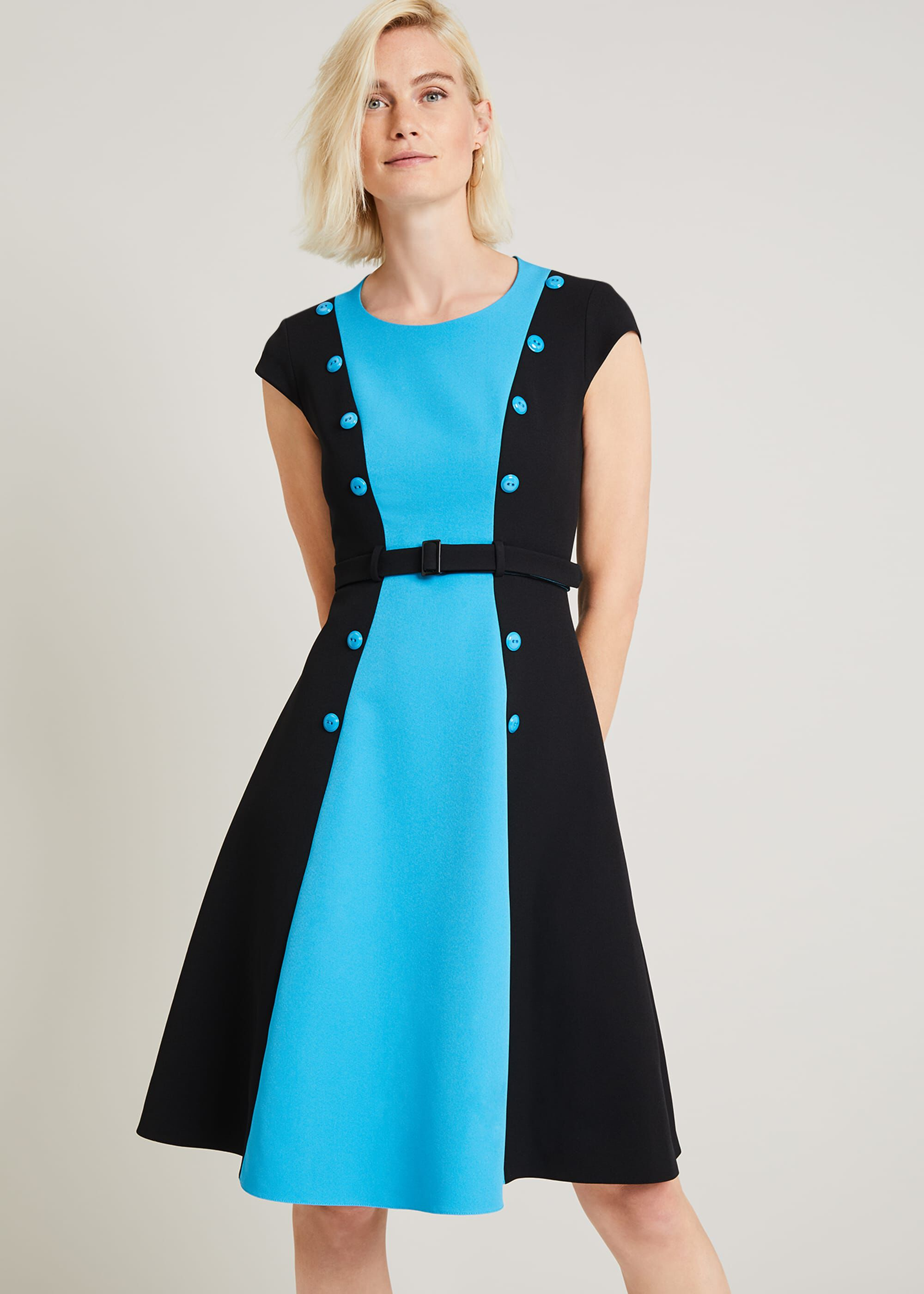 Shop Queen's Gambit Outfits – 60s Clothes Damsel in a Dress Ethel Colourblock Dress Black £79.00 AT vintagedancer.com