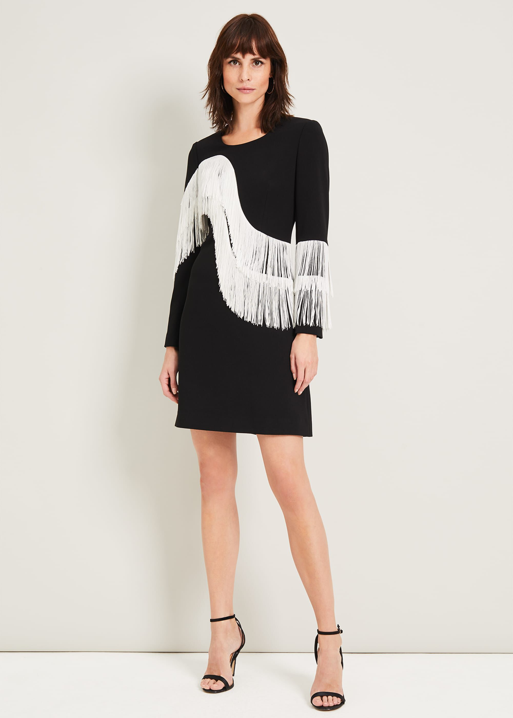 Damsel in a Dress Abline Fringe Dress, Black, Occasion Dress
