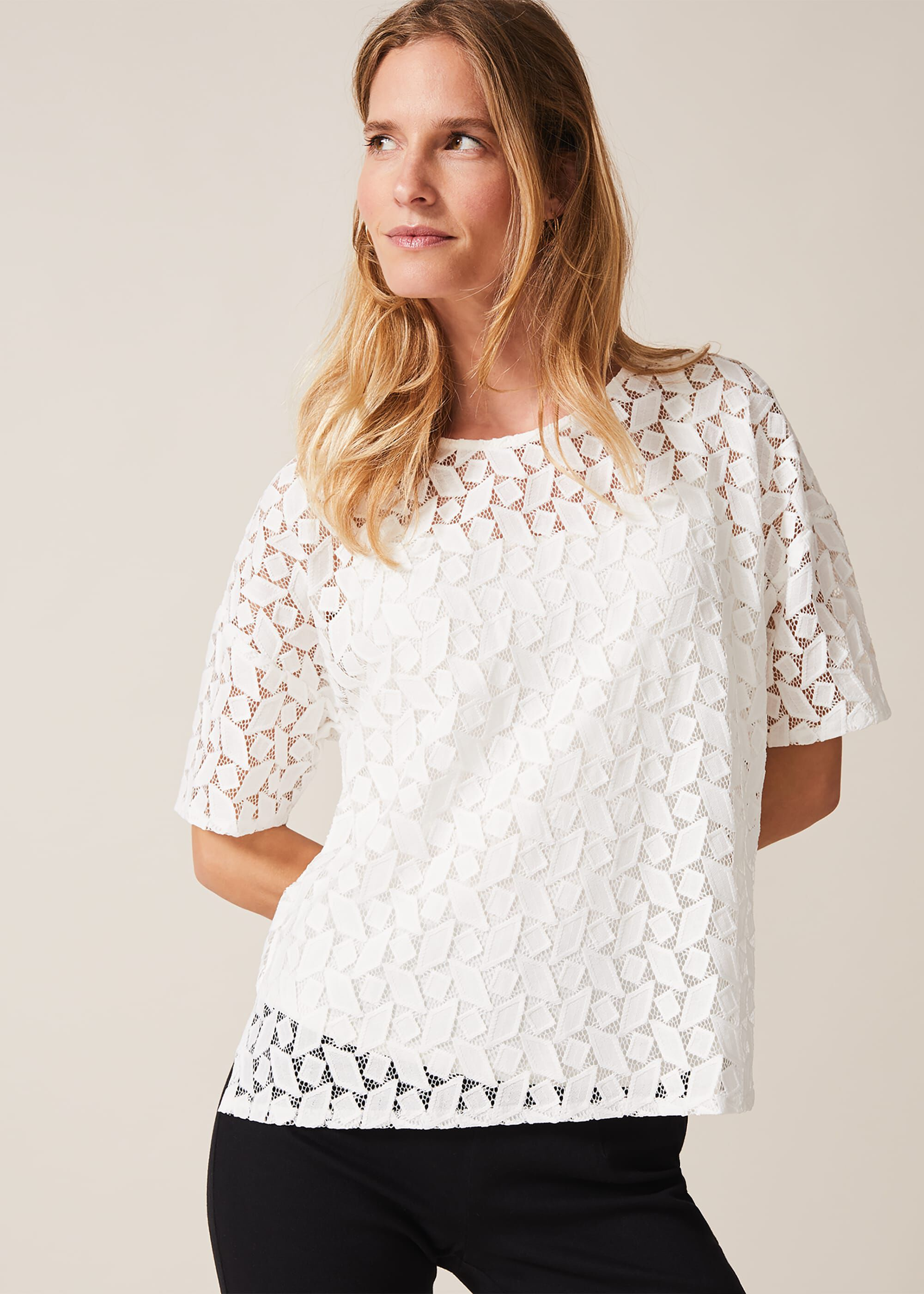 Phase Eight Rio Geo Textured Lace Top, Cream, Tops