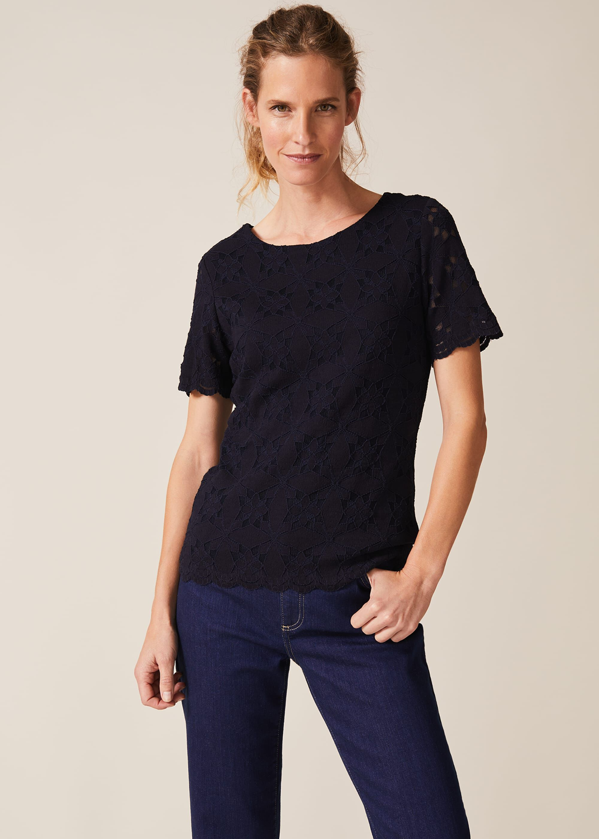 Phase Eight Louisa Lace Top, Blue, Tops