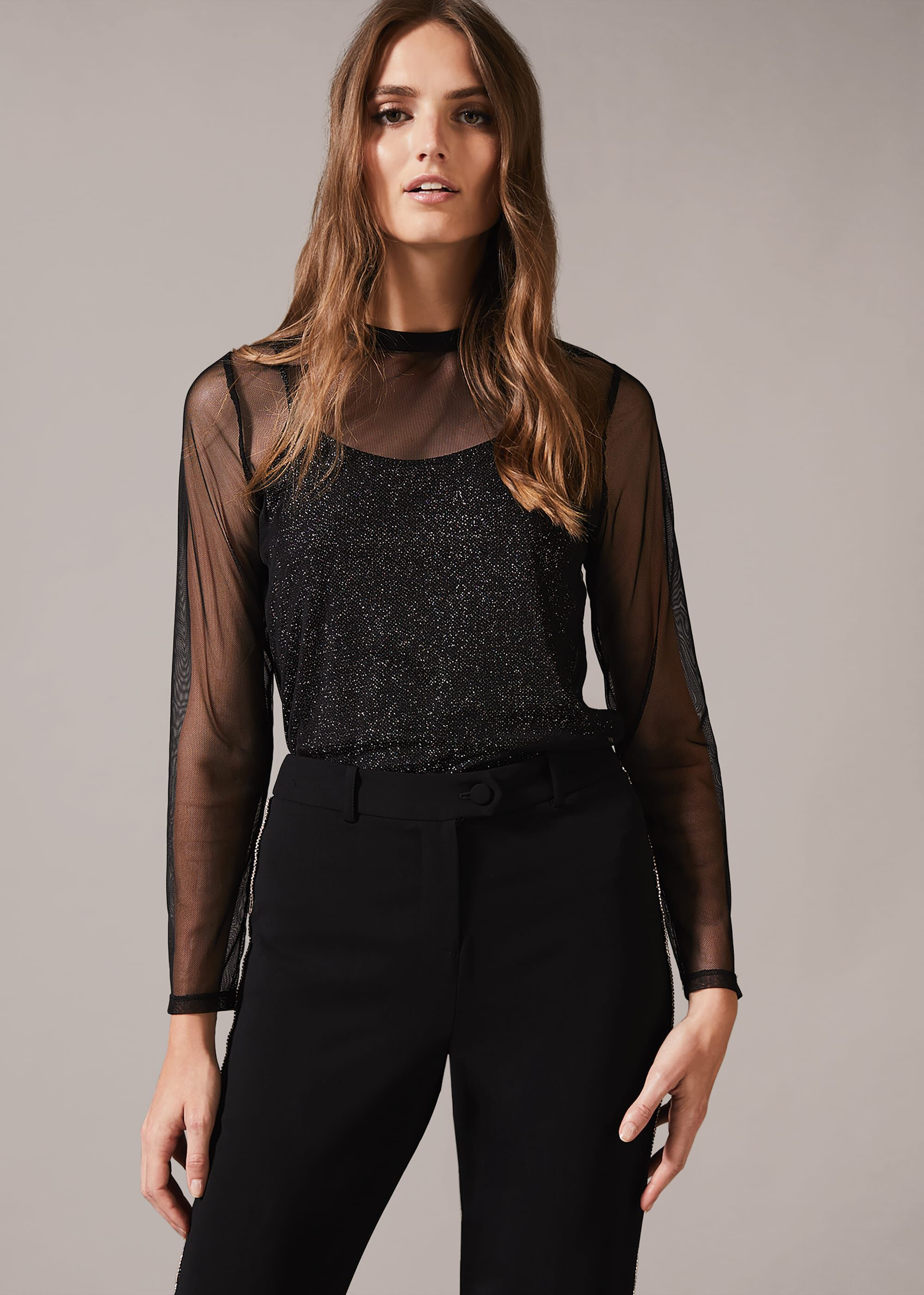 Phase Eight Nadire Mesh Overlay Top, Black, Blouse