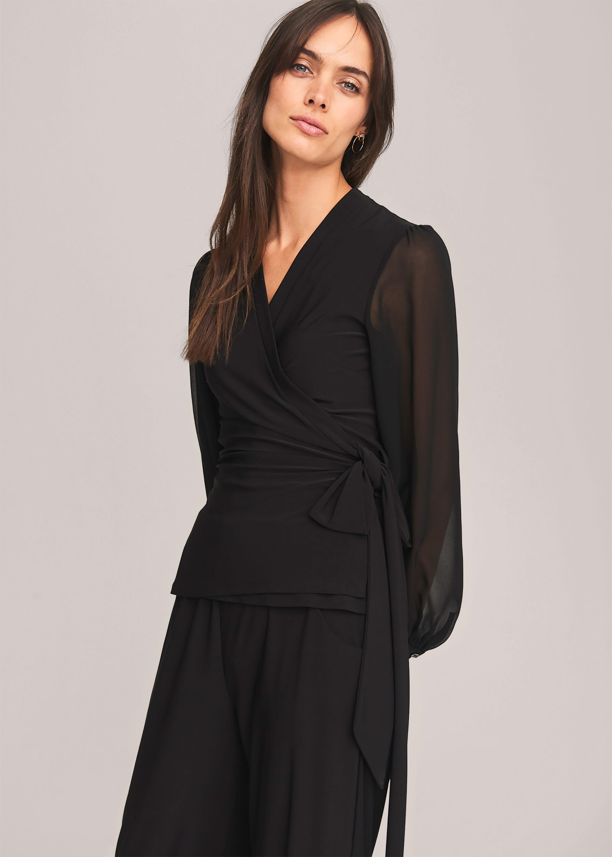 Phase Eight Corinne Jersey Wrap Top, Black, Blouse