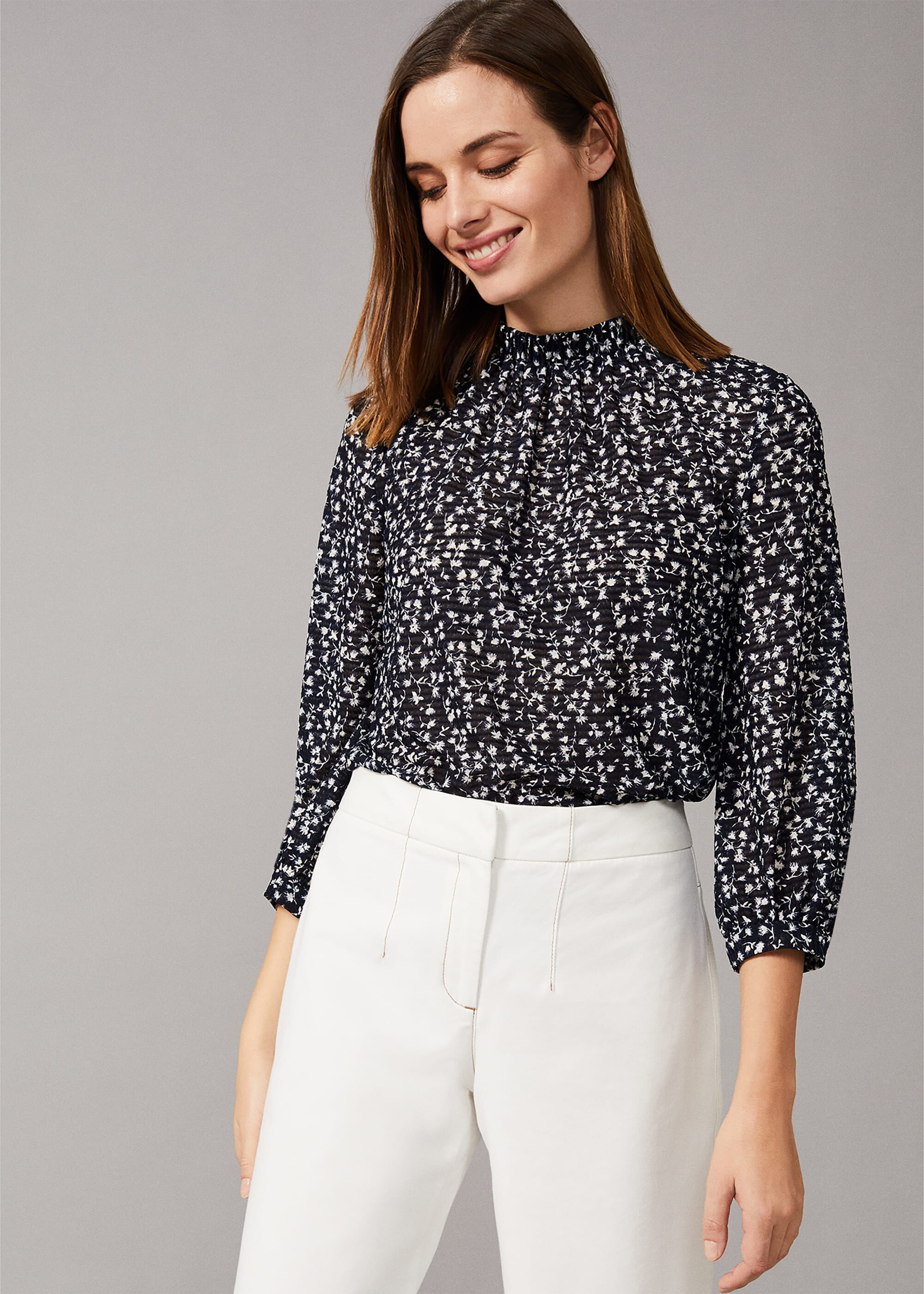 Phase Eight Shani Ditsy Lace Print Blouse, Blue, Tops