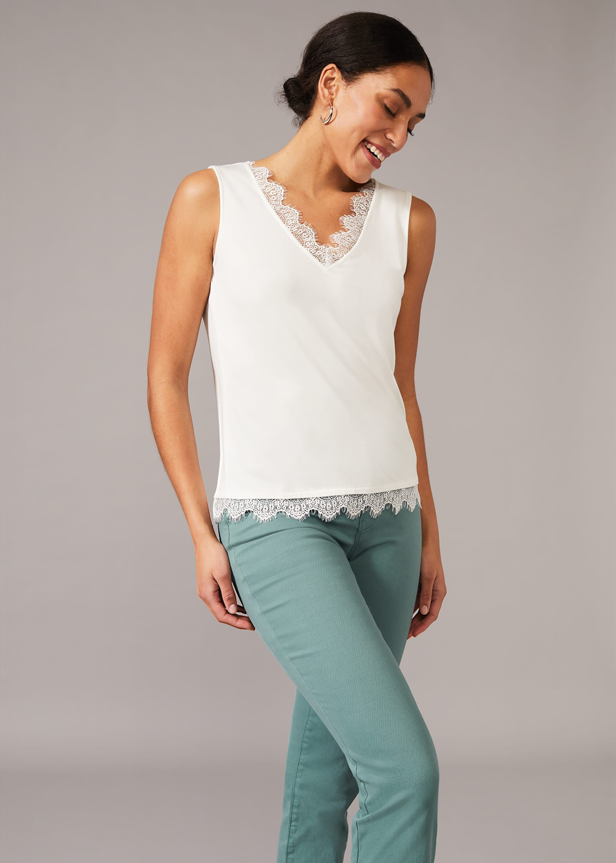 Phase Eight Ottie Lace Trim Vest Top, Cream, Camisole