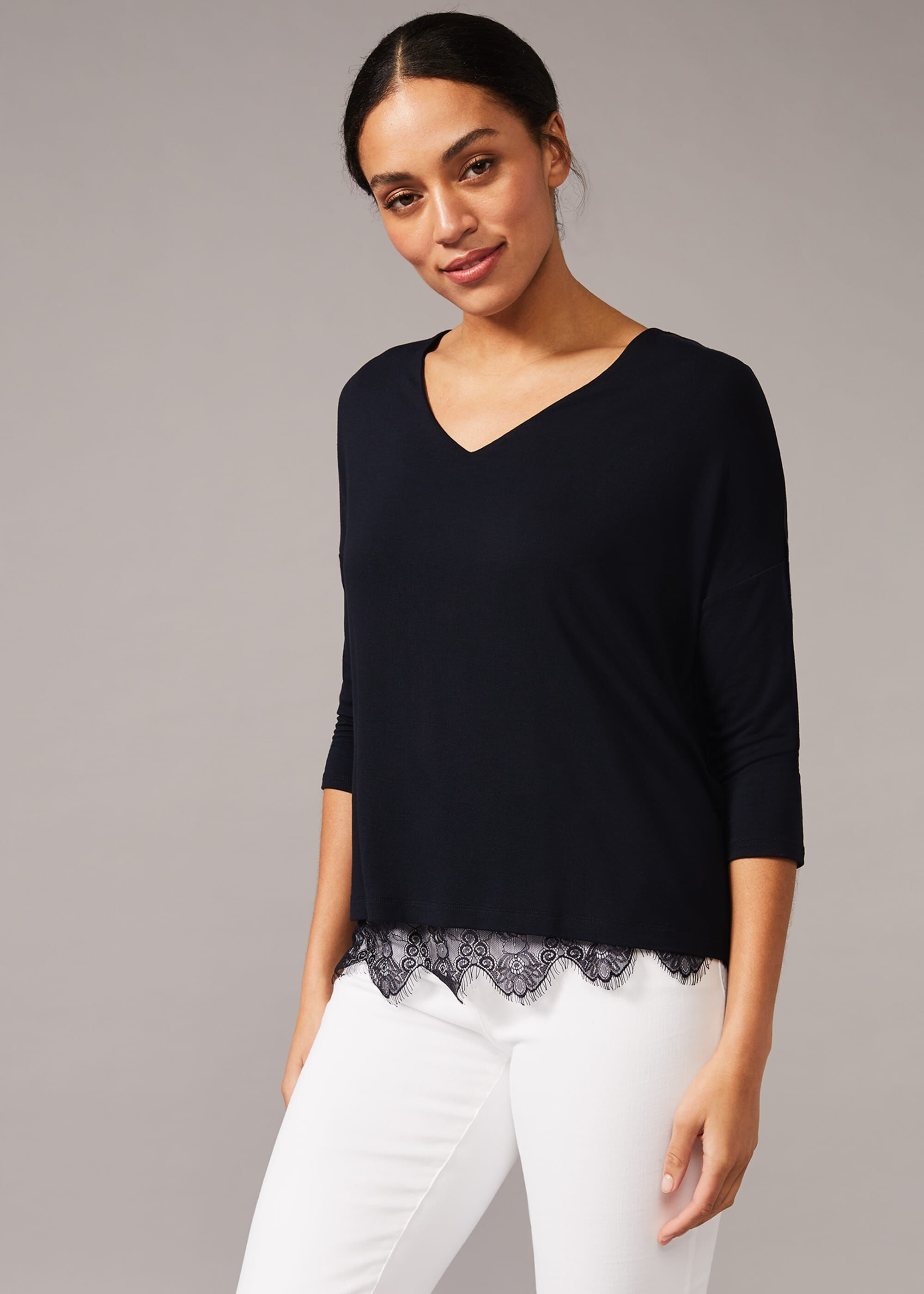Phase Eight Danella Lace Trim Double Layer Top, Blue, Tops