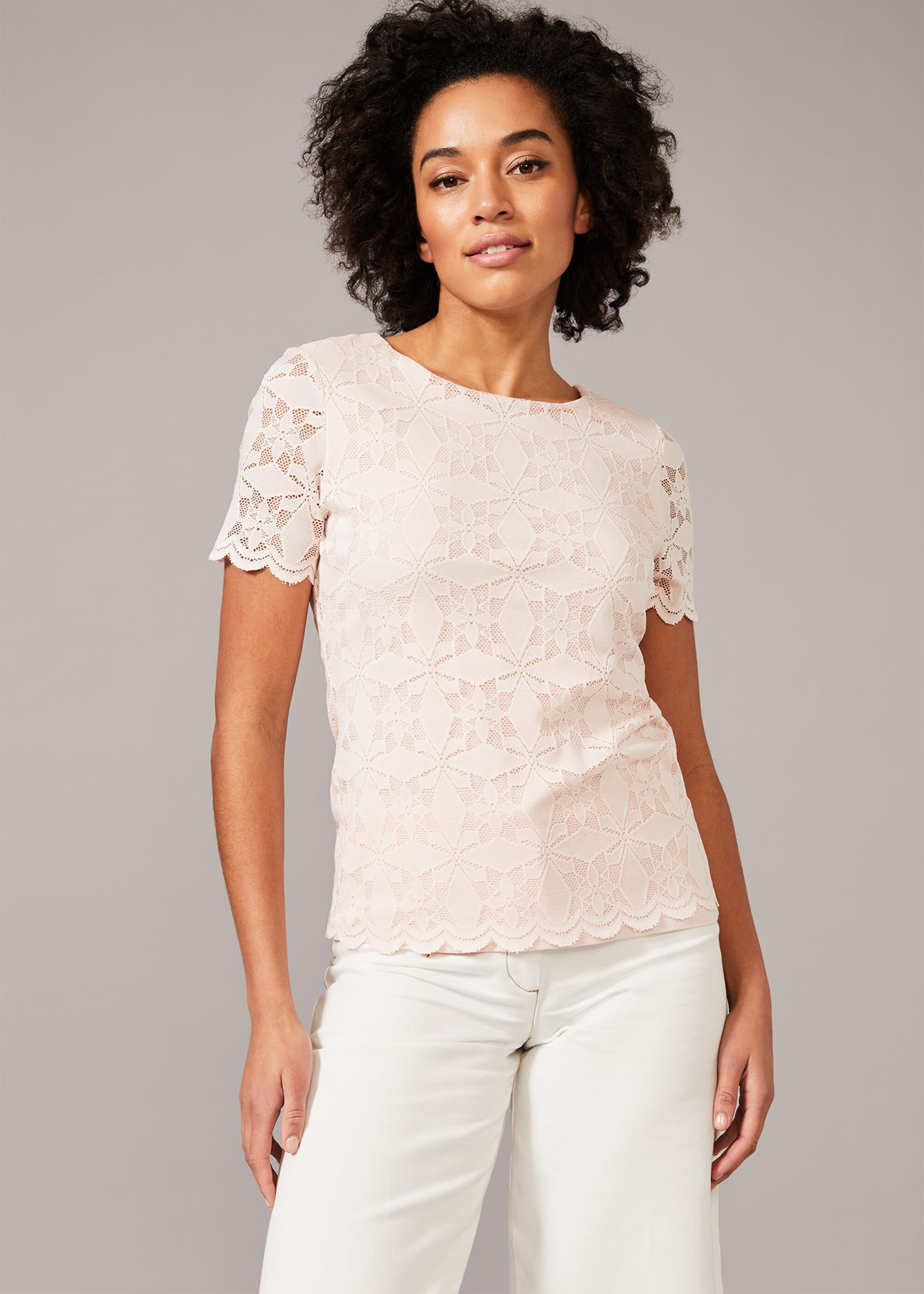 Phase Eight Louisa Lace Top, Pink, Tops