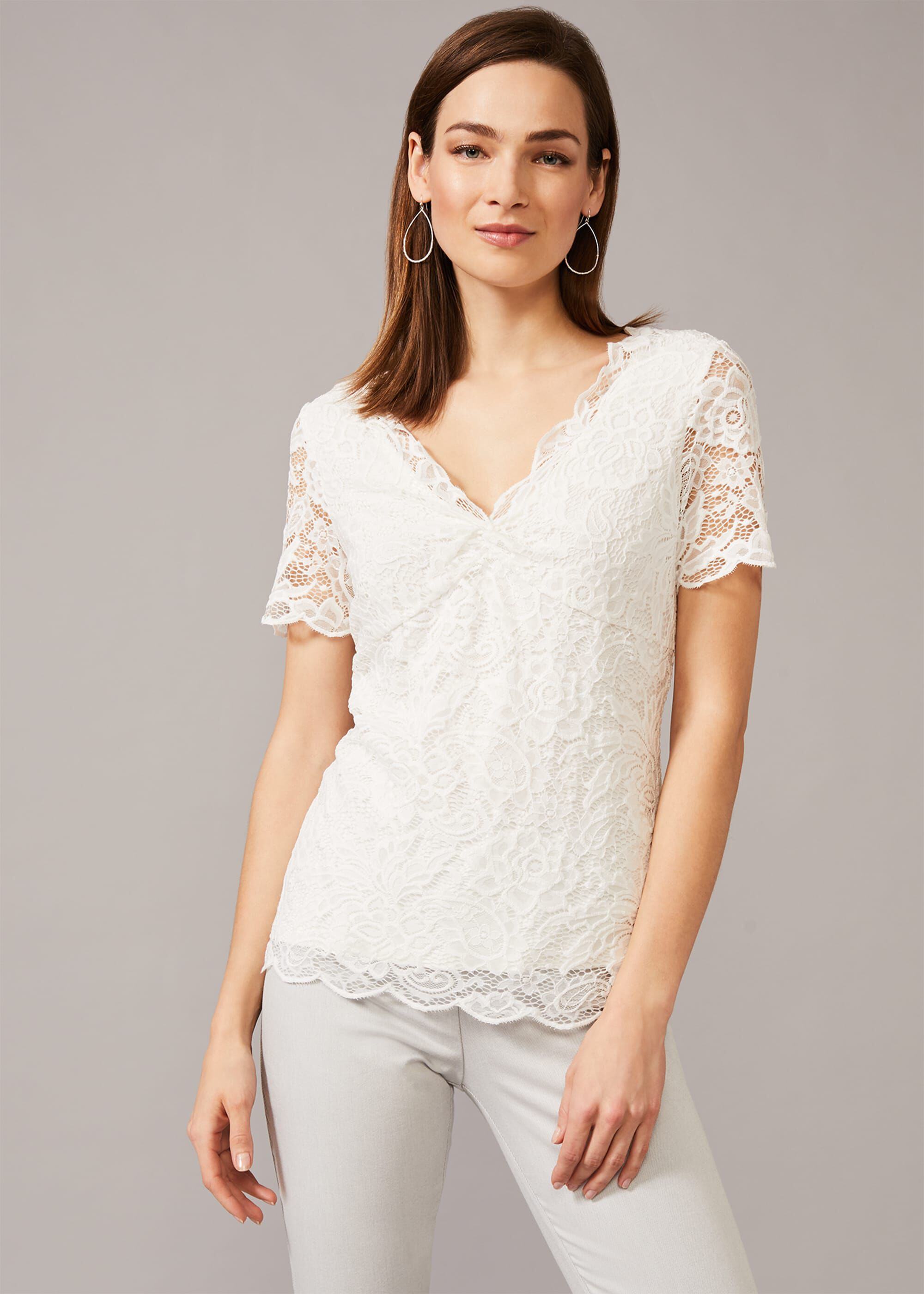 Phase Eight Brynlee Lace Top, Cream, Tops