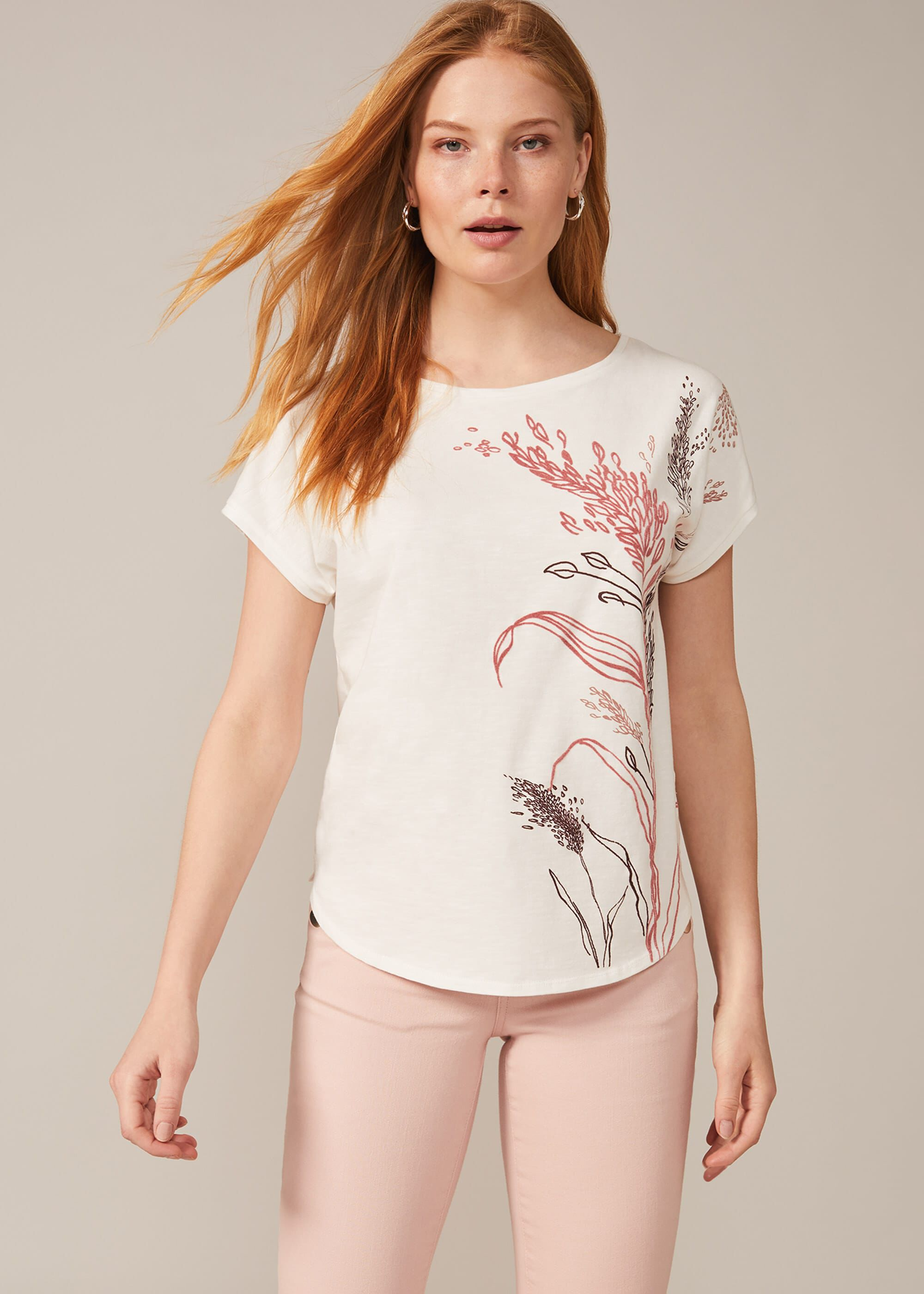 Phase Eight Aurelie Floral Placement Top, Cream, Tops