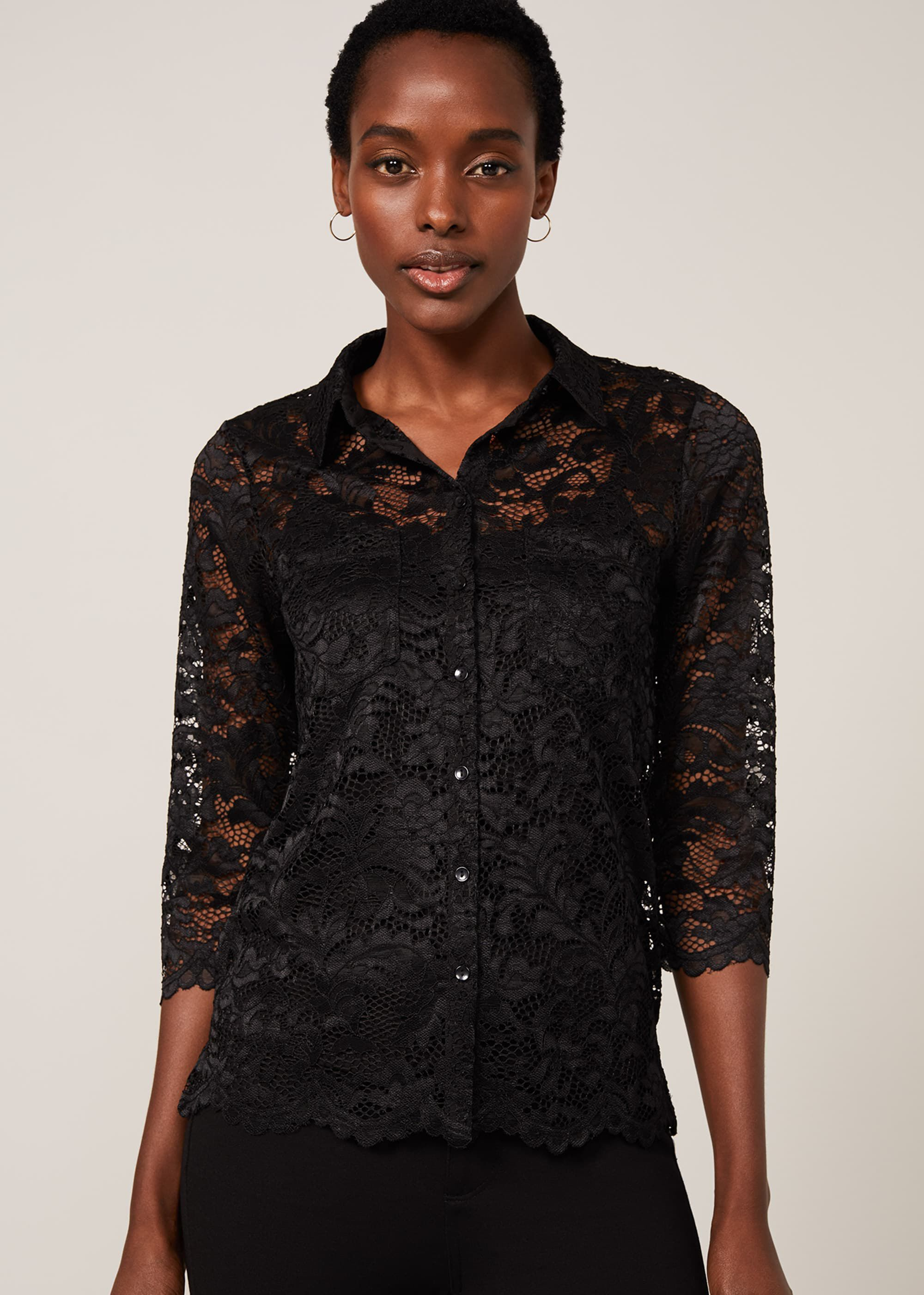 Phase Eight Gabby Lace Blouse, Black, Tops