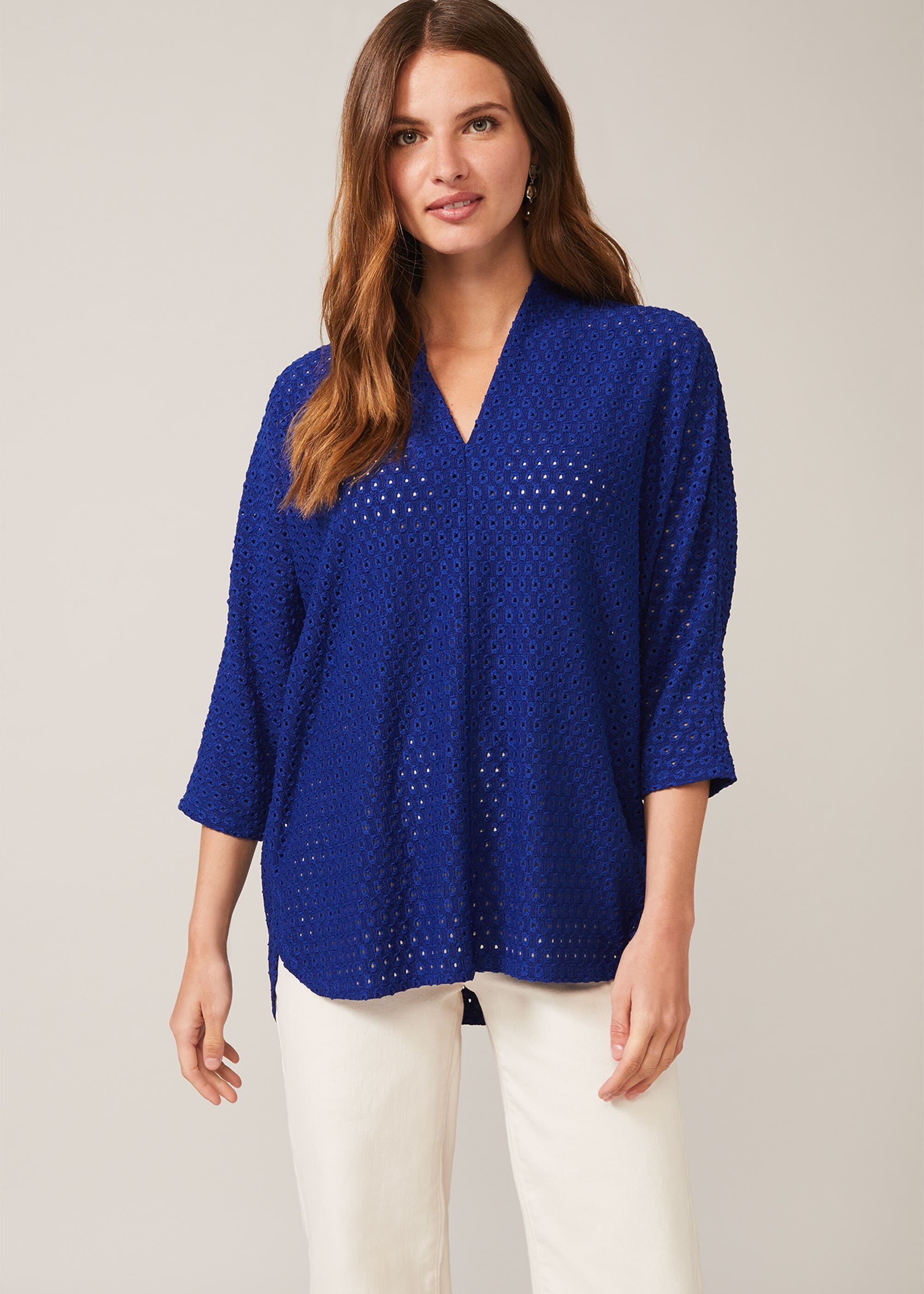 Phase Eight Vanessa V-Neck Lace Top, Blue, Tops