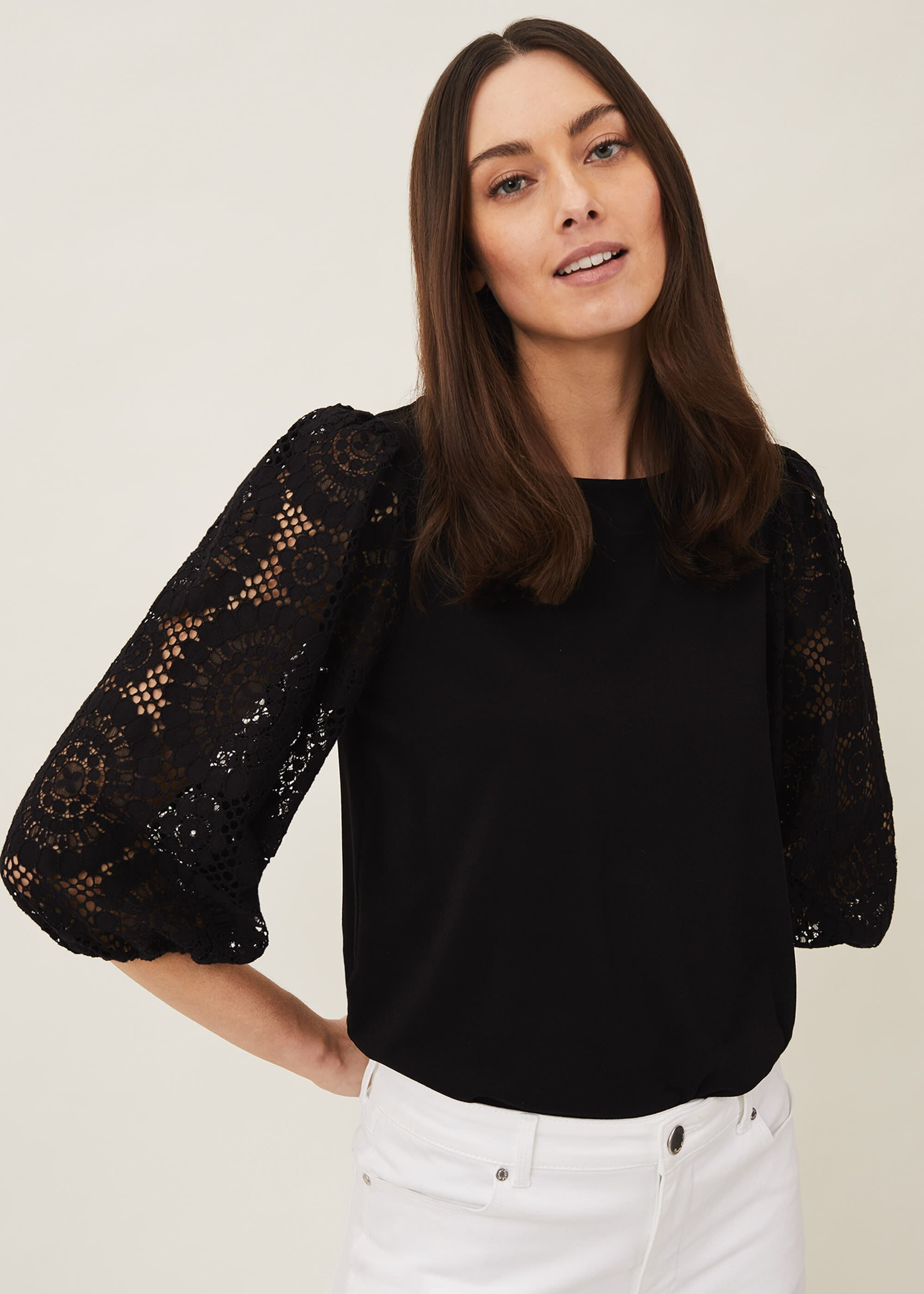 Phase Eight Lanna Lace Puff Sleeve Top, Black, Tops