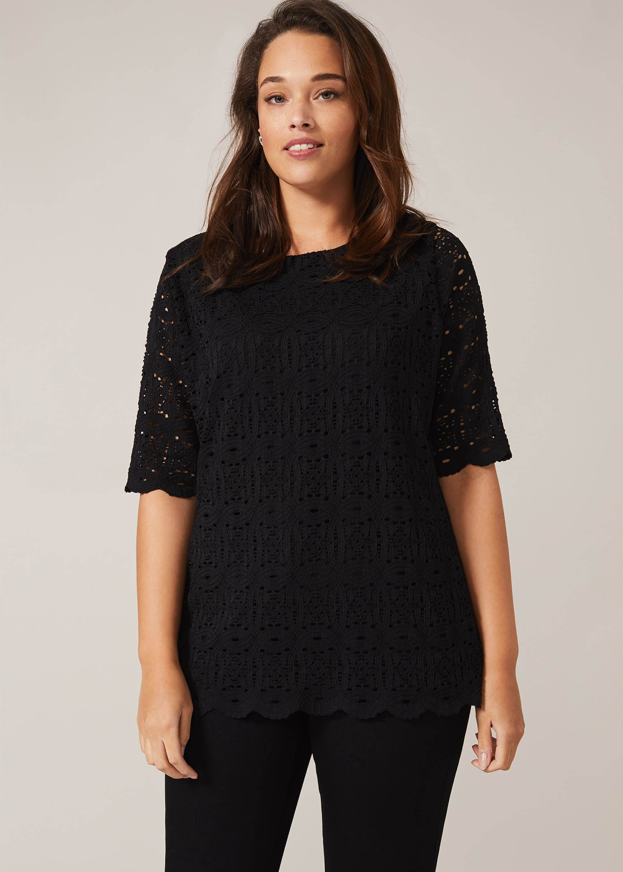 Studio 8 Louisa Lace Top, Black, Tops