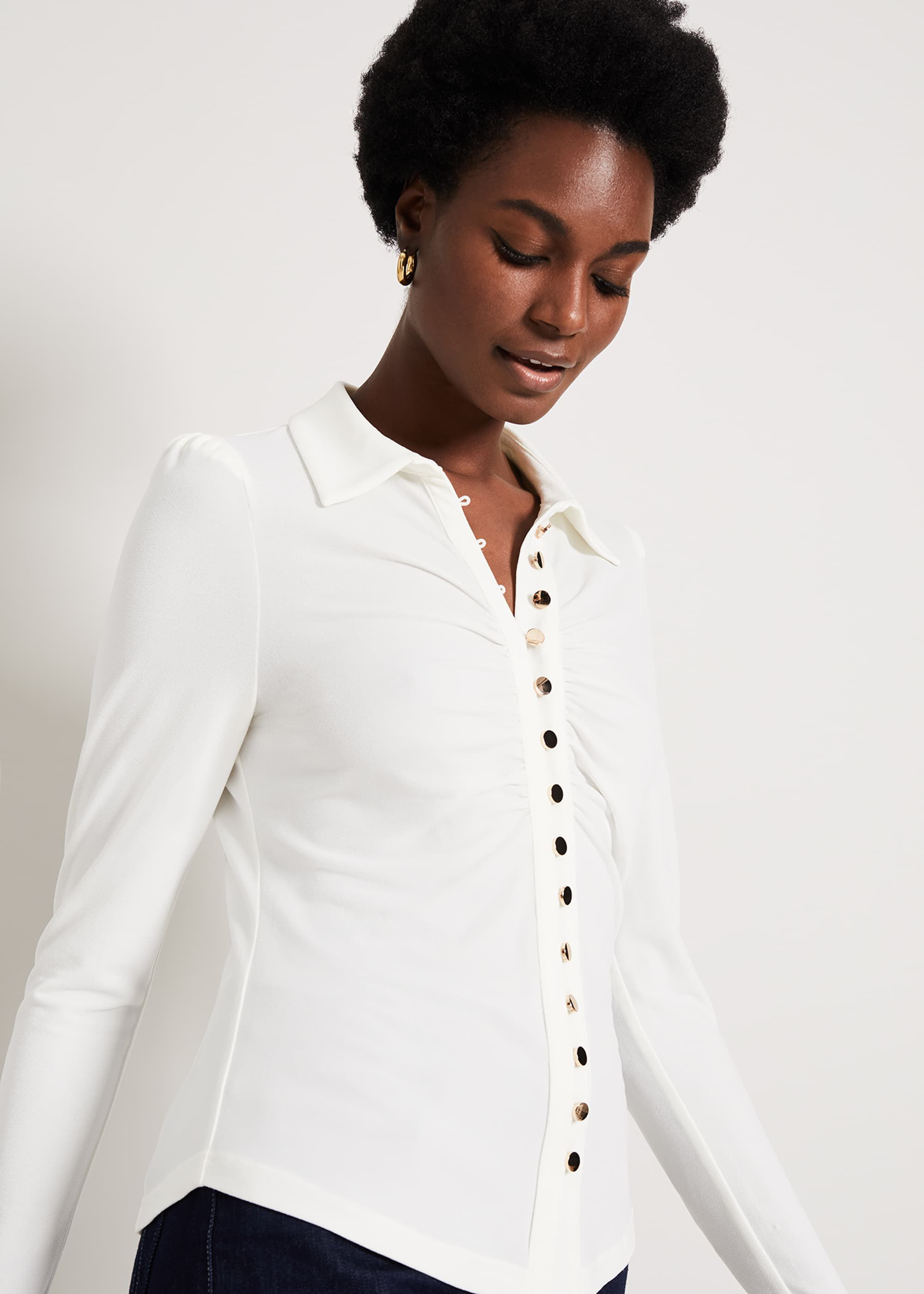 Damsel in a Dress Aretha Ruched Front Top, Cream