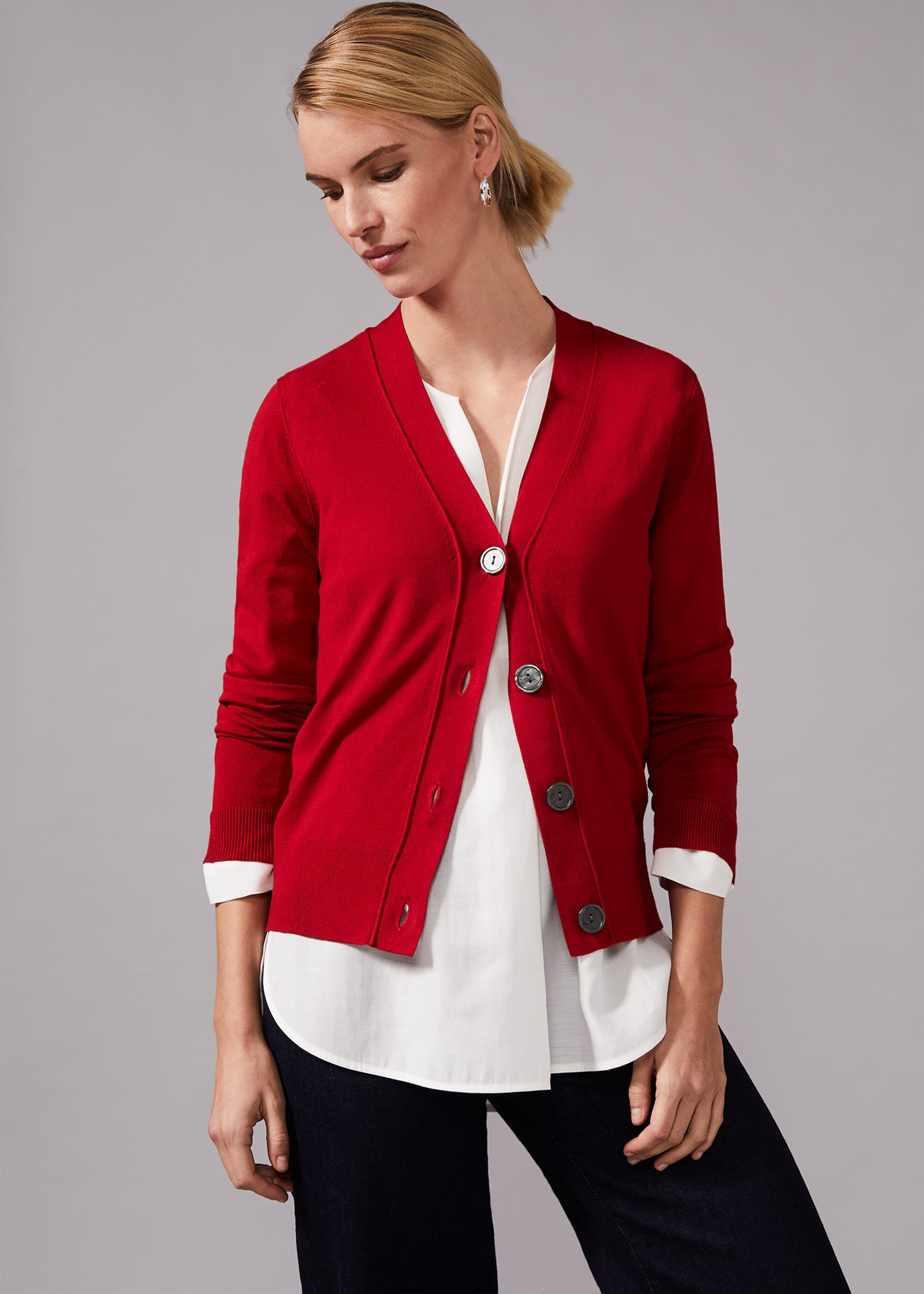 Phase Eight Camille Cardigan, Red, Cardigan