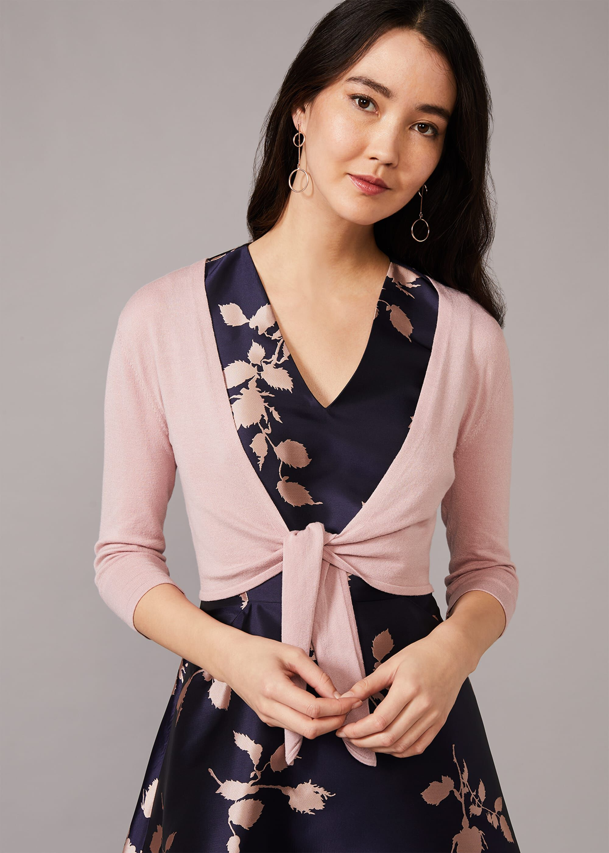 Phase Eight Ana Tie Front Cover Up, Pink, Cardigan